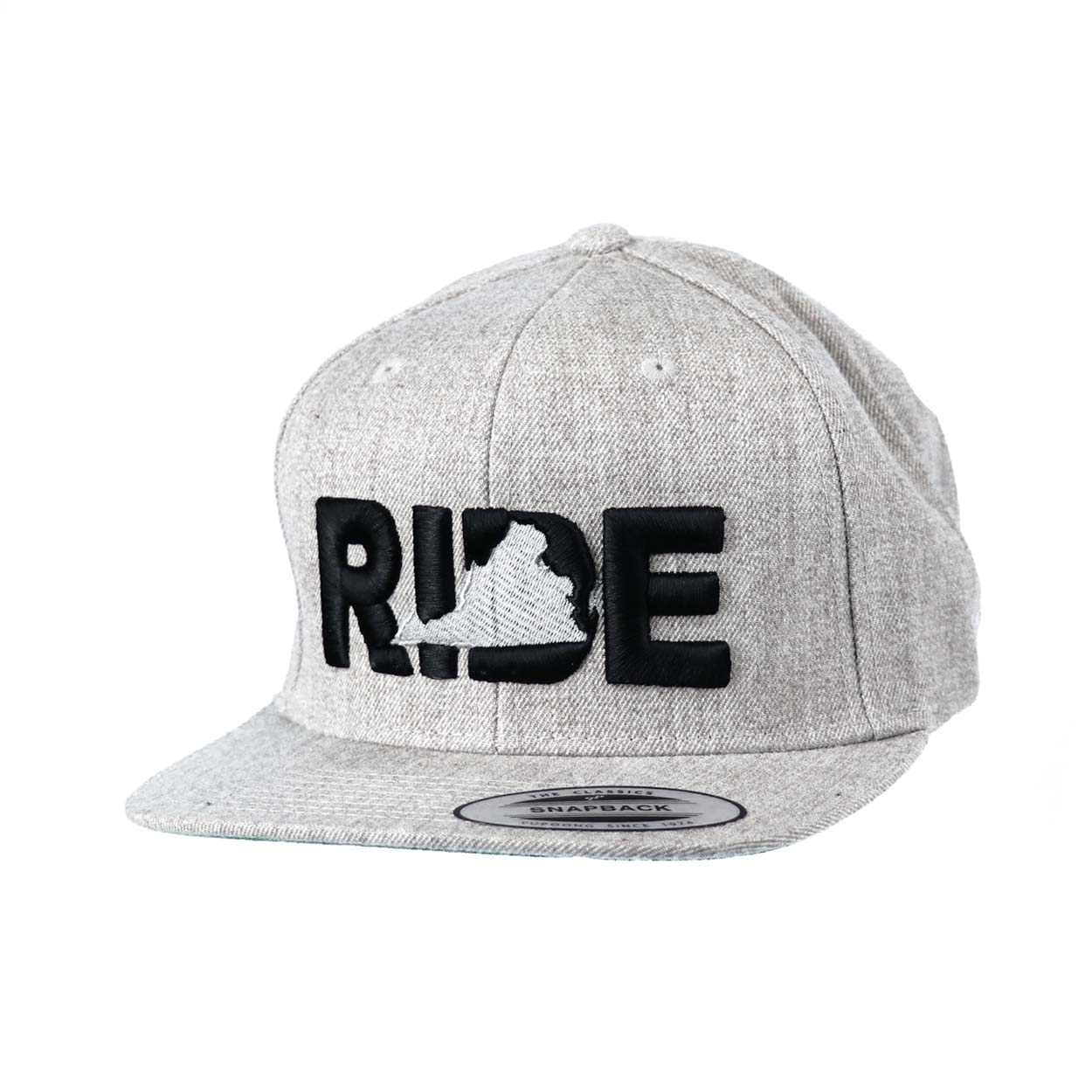 Ride Virginia Classic Embroidered  Snapback Flat Brim Hat Gray/Black