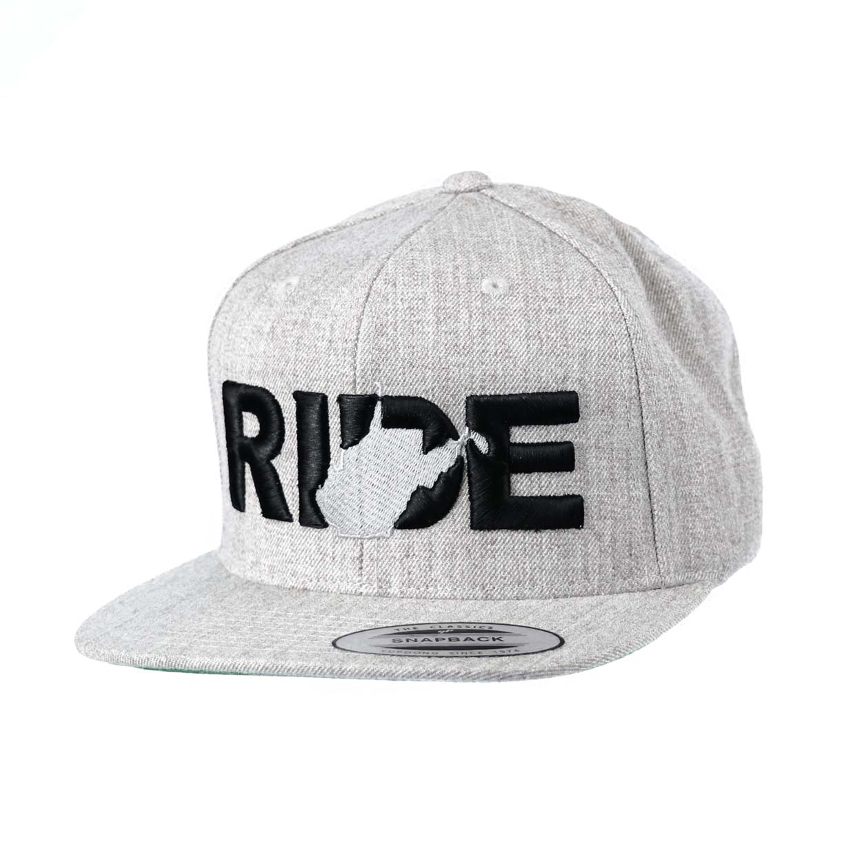 Ride West Virginia Classic Embroidered  Snapback Flat Brim Hat Gray/Black