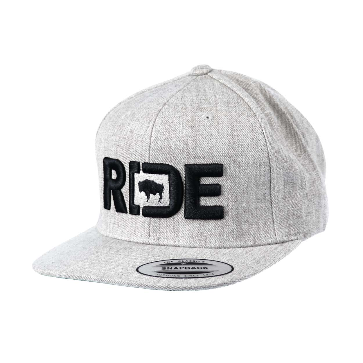 Ride Wyoming Classic Embroidered  Snapback Flat Brim Hat Gray/Black