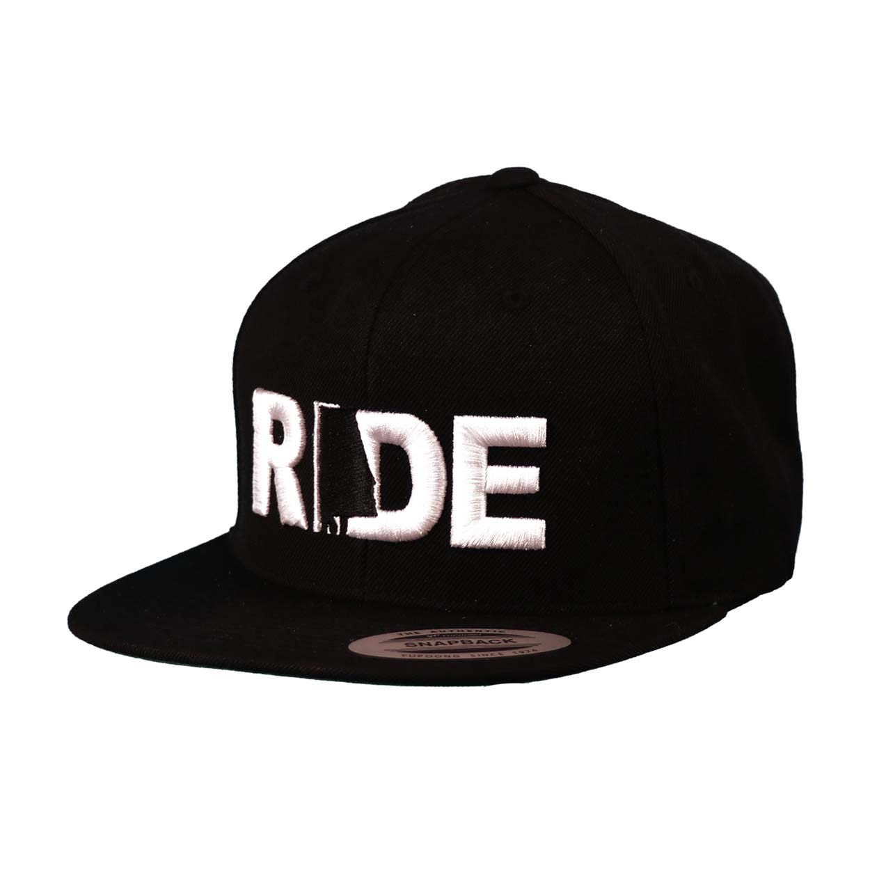 Ride Alabama Classic Embroidered  Snapback Flat Brim Hat Black/White