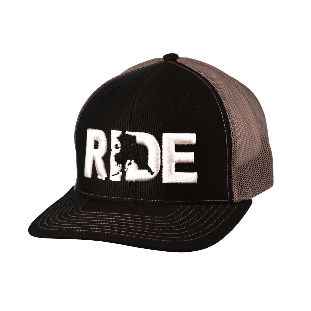 Ride Alaska Classic Embroidered Snapback Trucker Hat Black/White