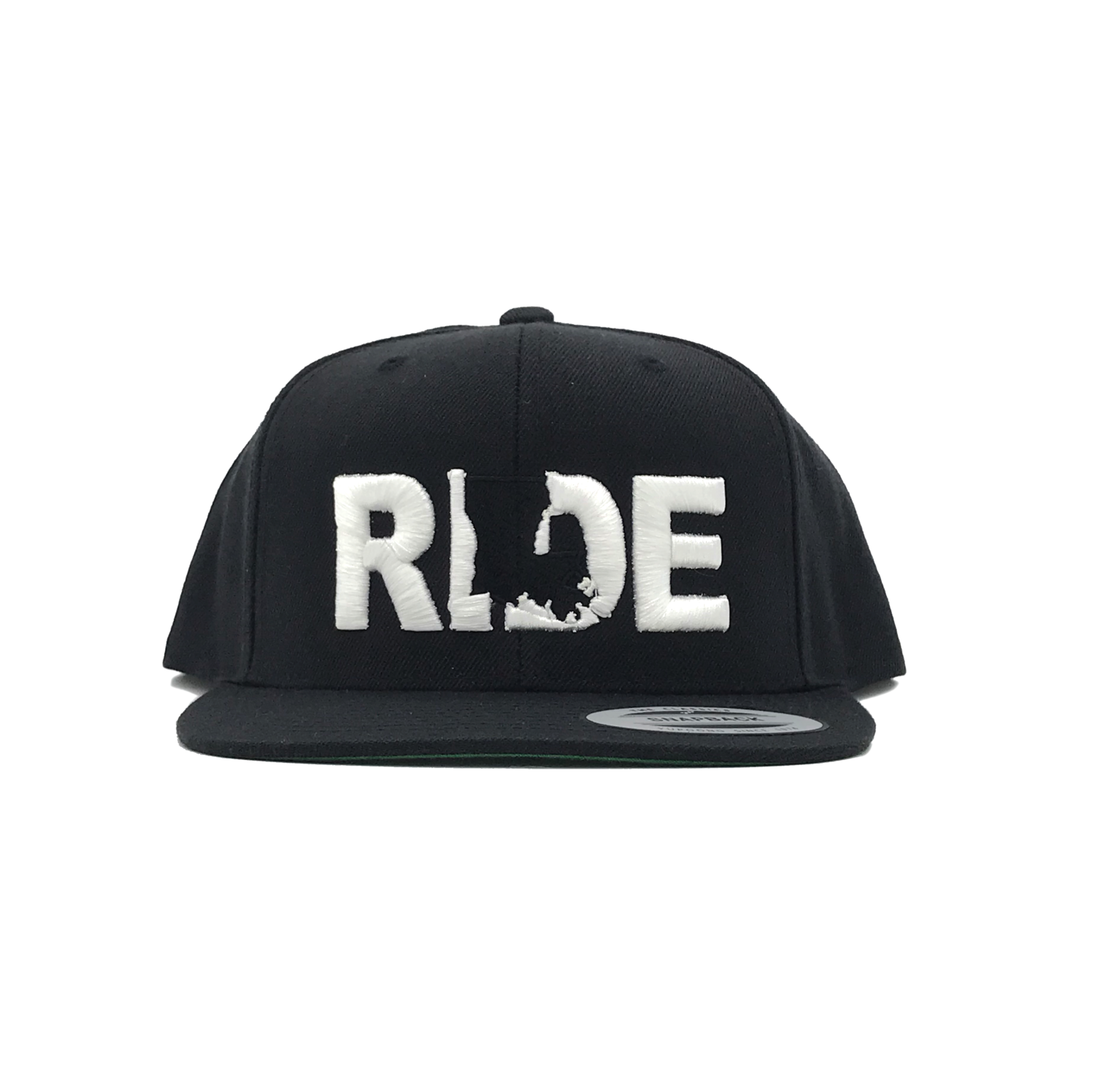 Ride Louisiana Classic Embroidered  Snapback Flat Brim Hat Black/White