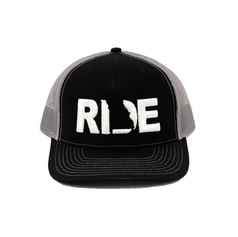 Ride Missouri Classic Embroidered Snapback Trucker Hat Black/White