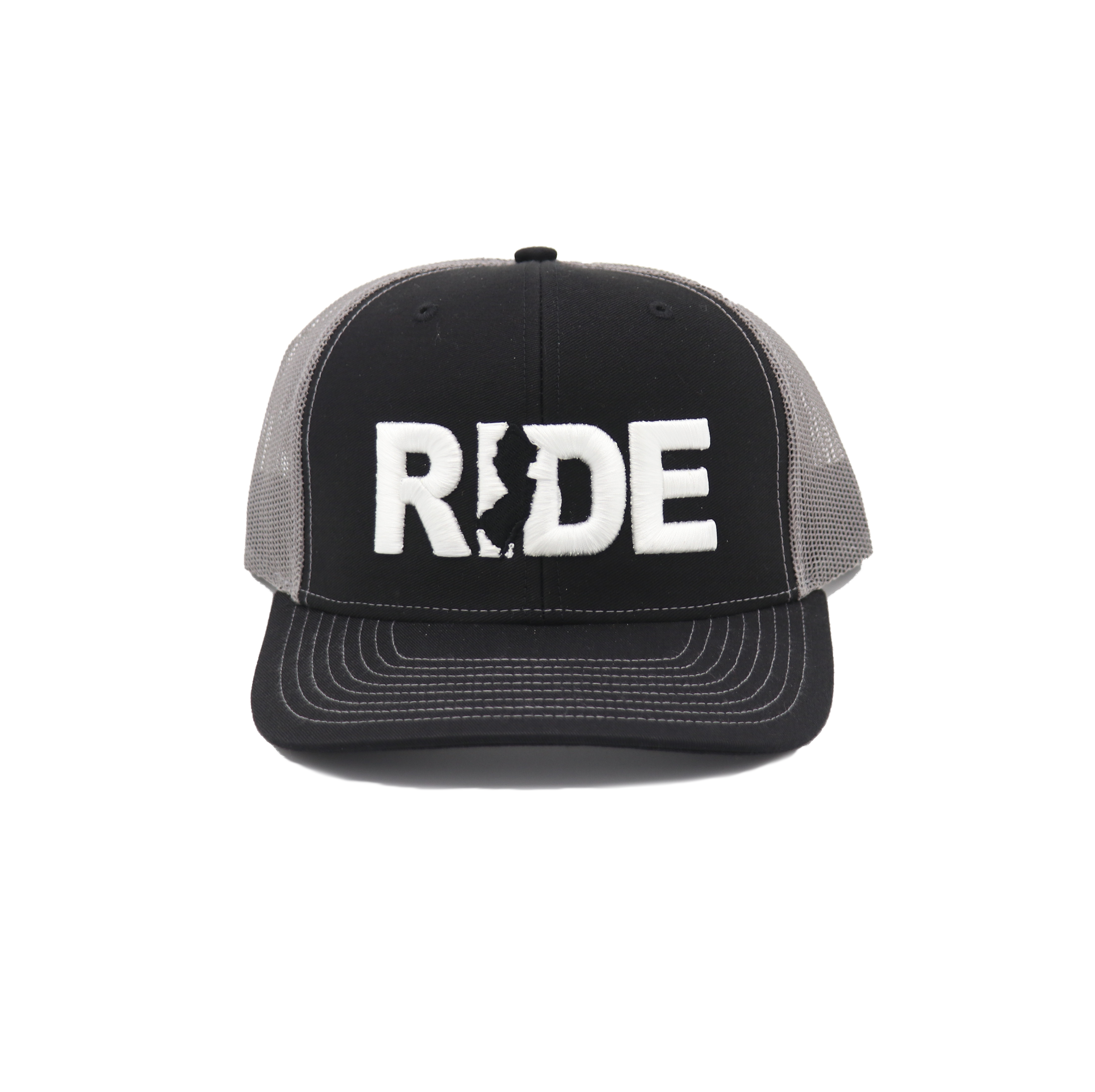 Ride New Jersey Classic Embroidered Snapback Trucker Hat Black/White