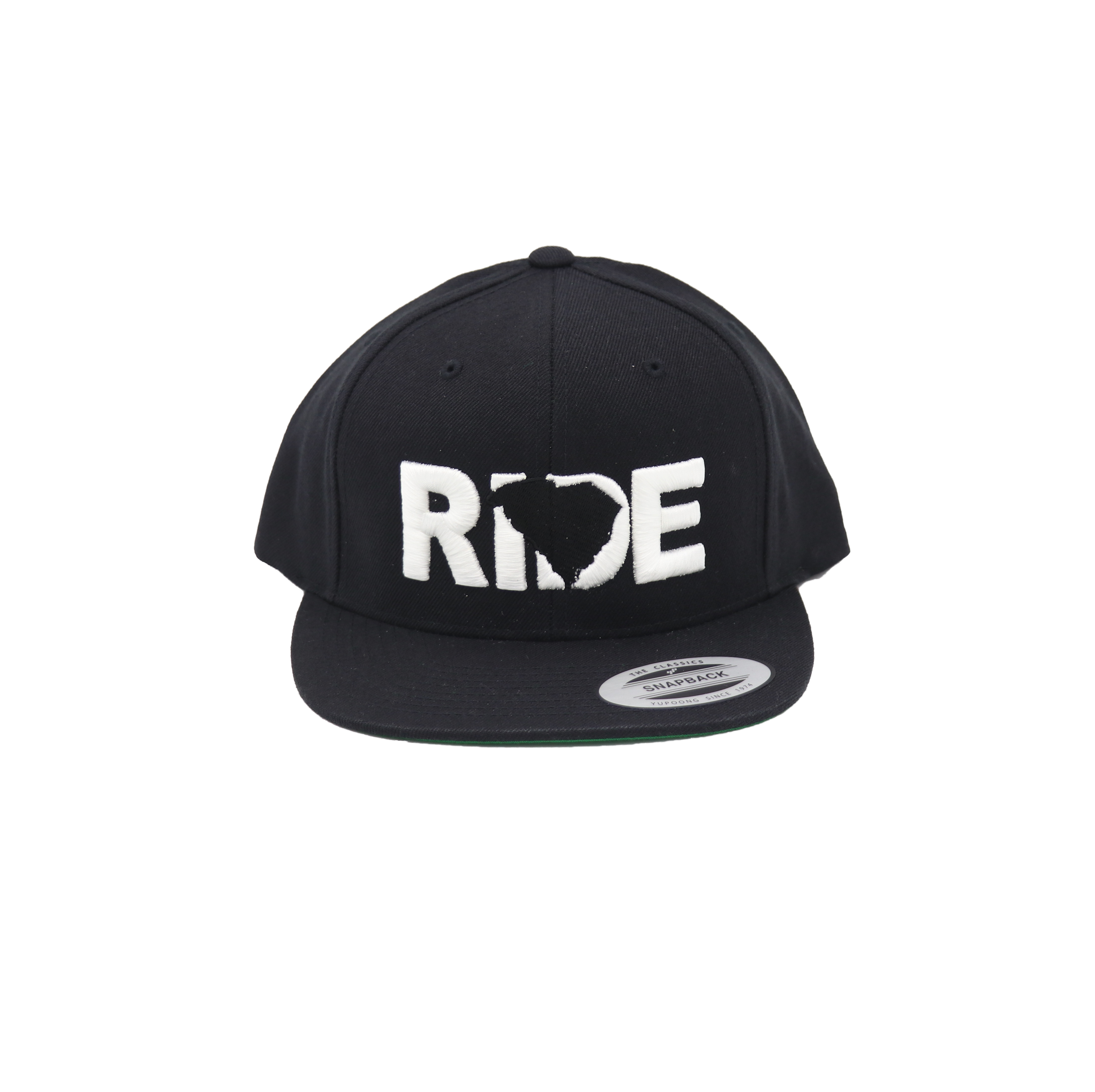 Ride South Carolina Classic Embroidered  Snapback Flat Brim Hat Black/White