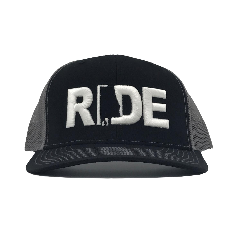 Ride Alabama Classic Embroidered Snapback Trucker Hat Black/White