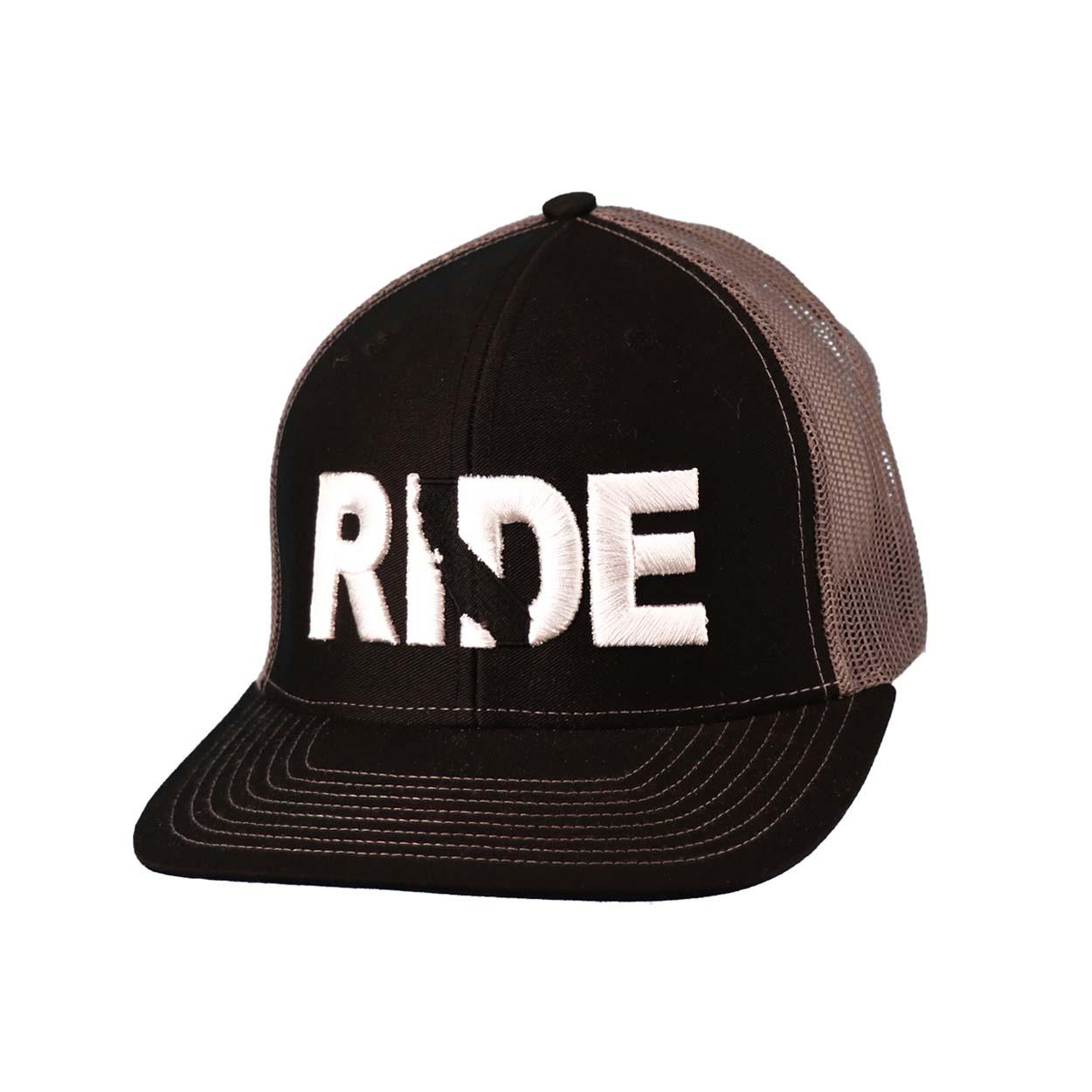 Ride California Classic Embroidered Snapback Trucker Hat Black/White