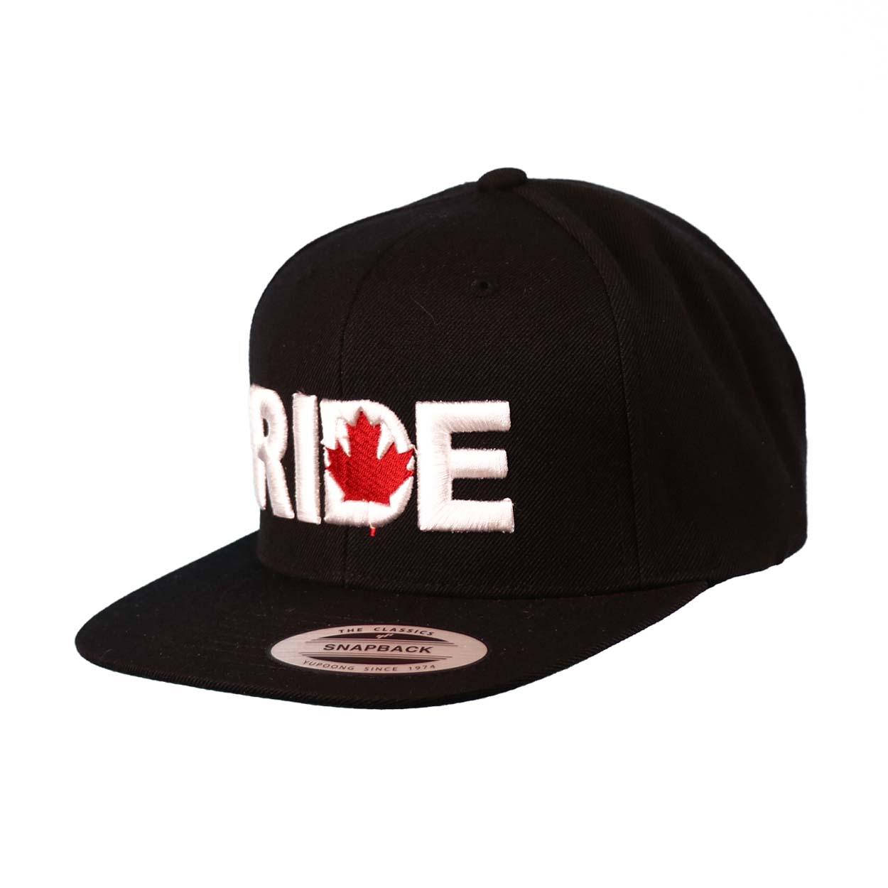Ride Canada Classic Embroidered  Snapback Flat Brim Hat Black/White