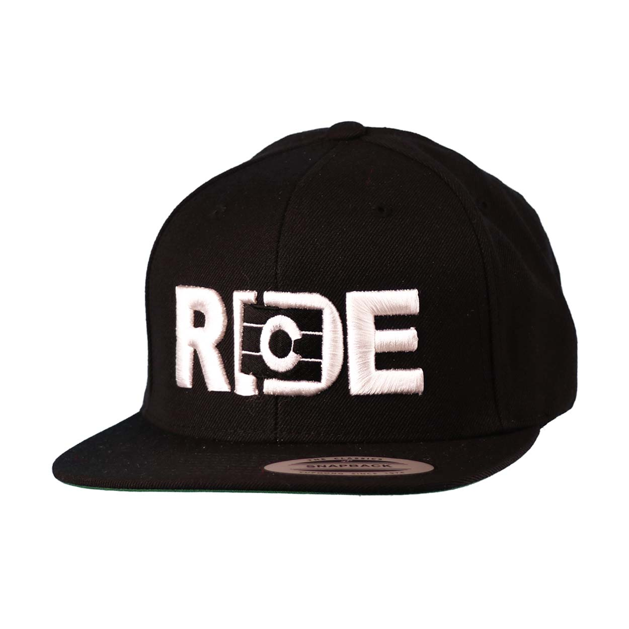 Ride Colorado Classic Embroidered  Snapback Flat Brim Hat Black/White