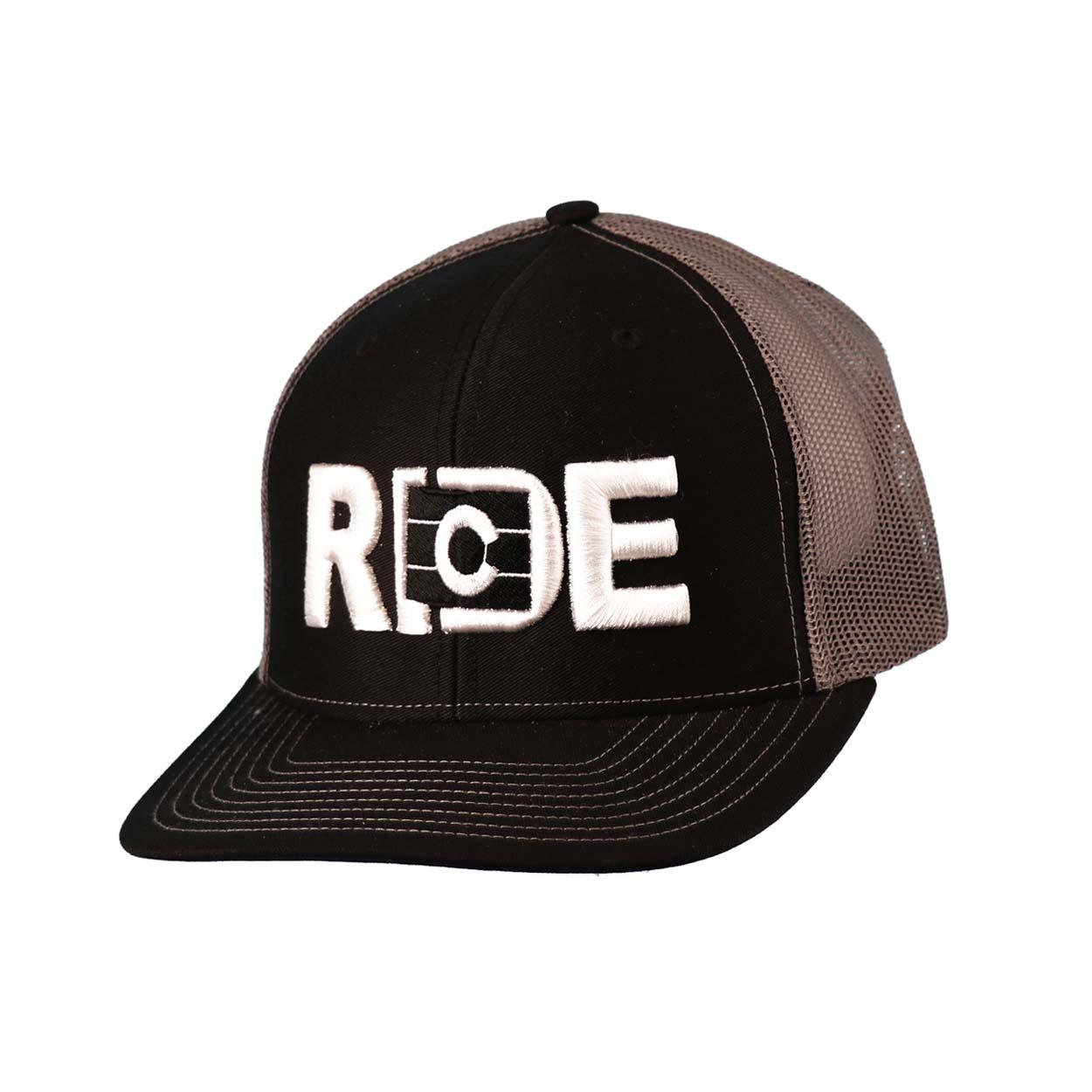 Ride Colorado Classic Embroidered Snapback Trucker Hat Black/White