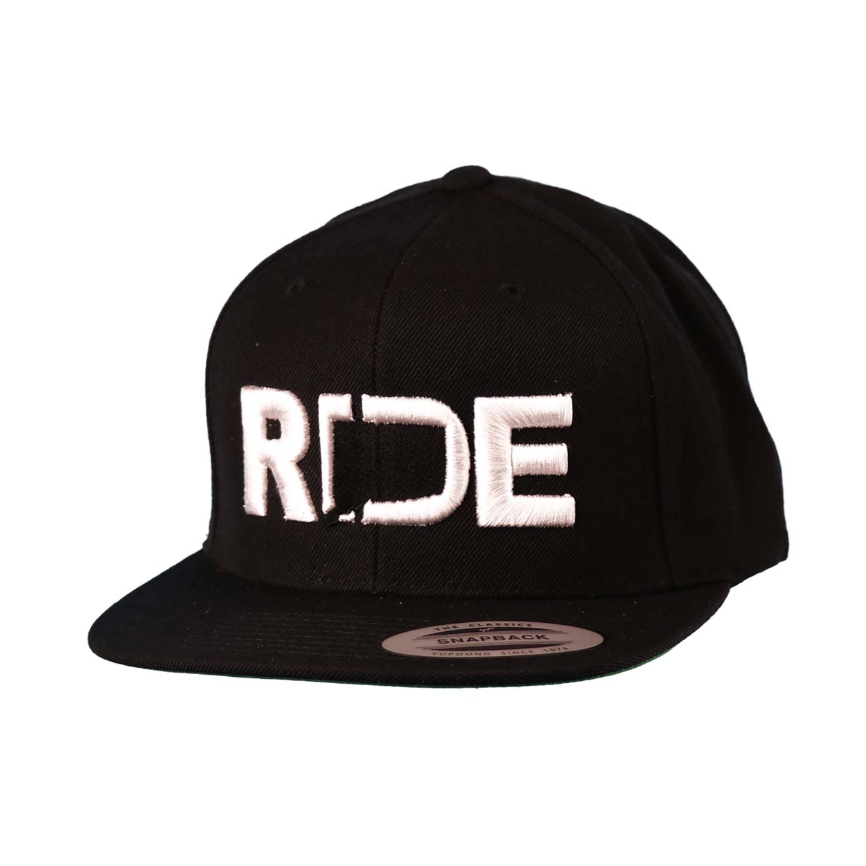 Ride Connecticut Classic Embroidered  Snapback Flat Brim Hat Black/White