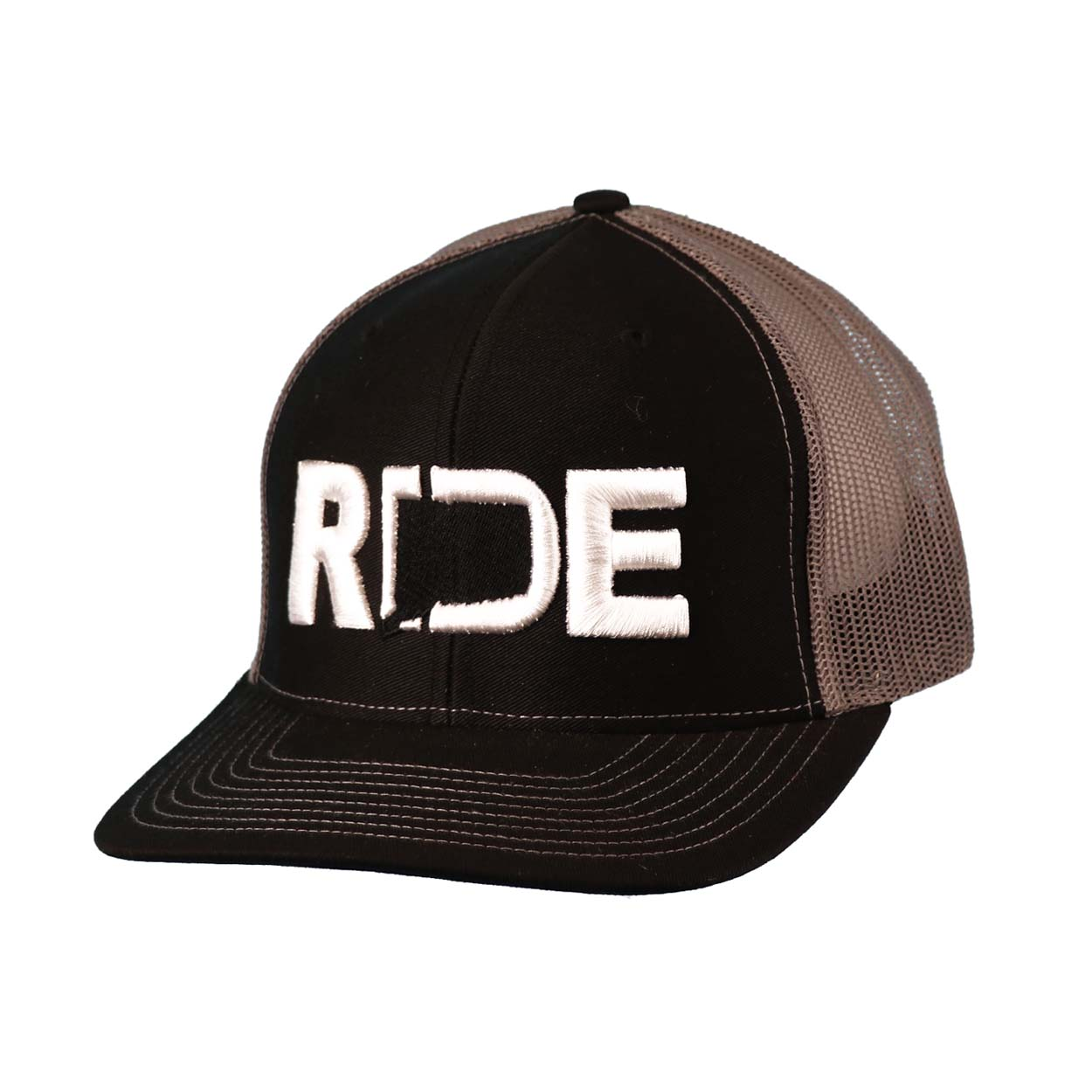 Ride Connecticut Classic Embroidered Snapback Trucker Hat Black/White