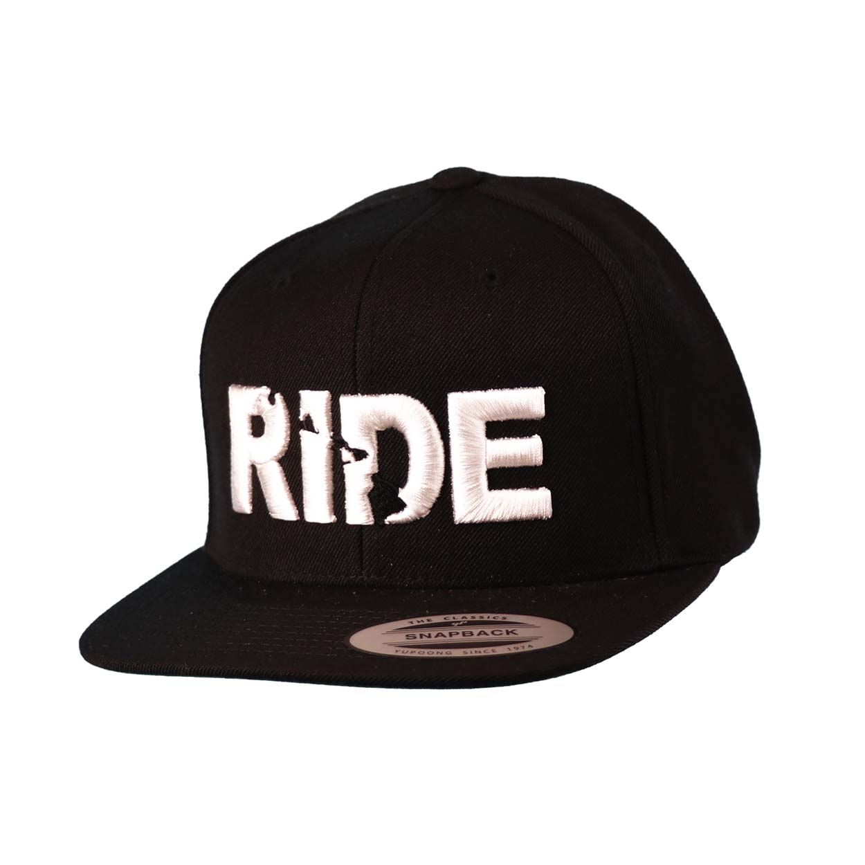 Ride Hawaii Classic Embroidered  Snapback Flat Brim Hat Black/White