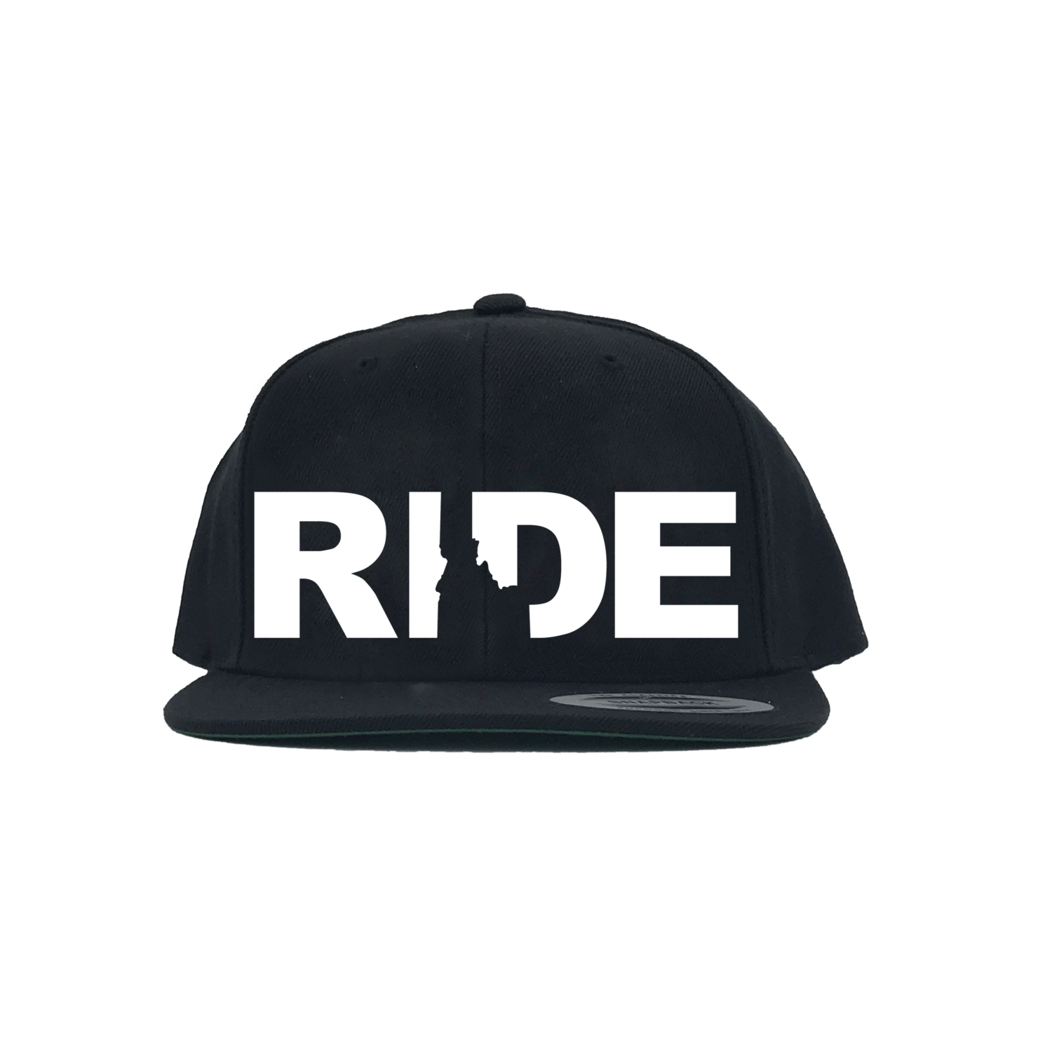 Ride Idaho Classic Embroidered  Snapback Flat Brim Hat Black/White