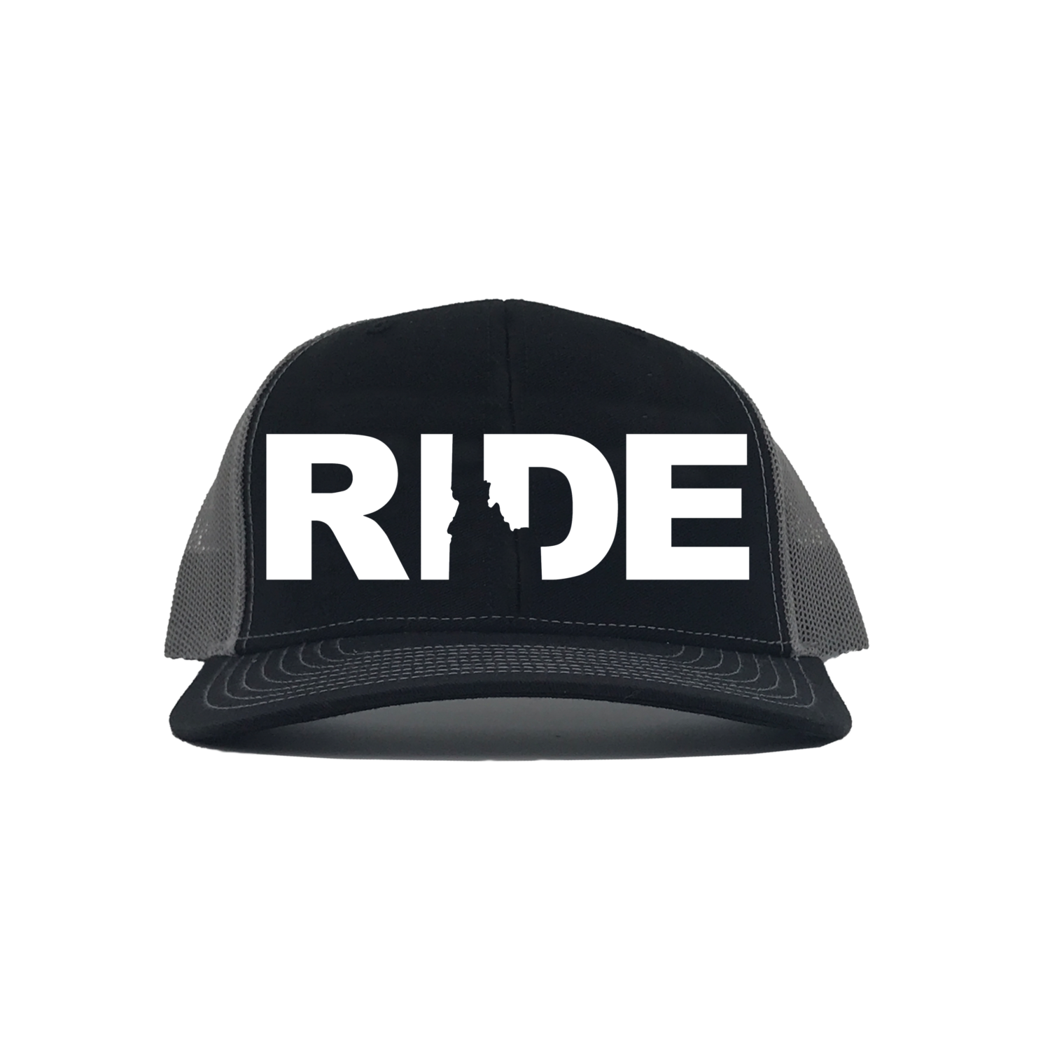 Ride Idaho Classic Embroidered Snapback Trucker Hat Black/White