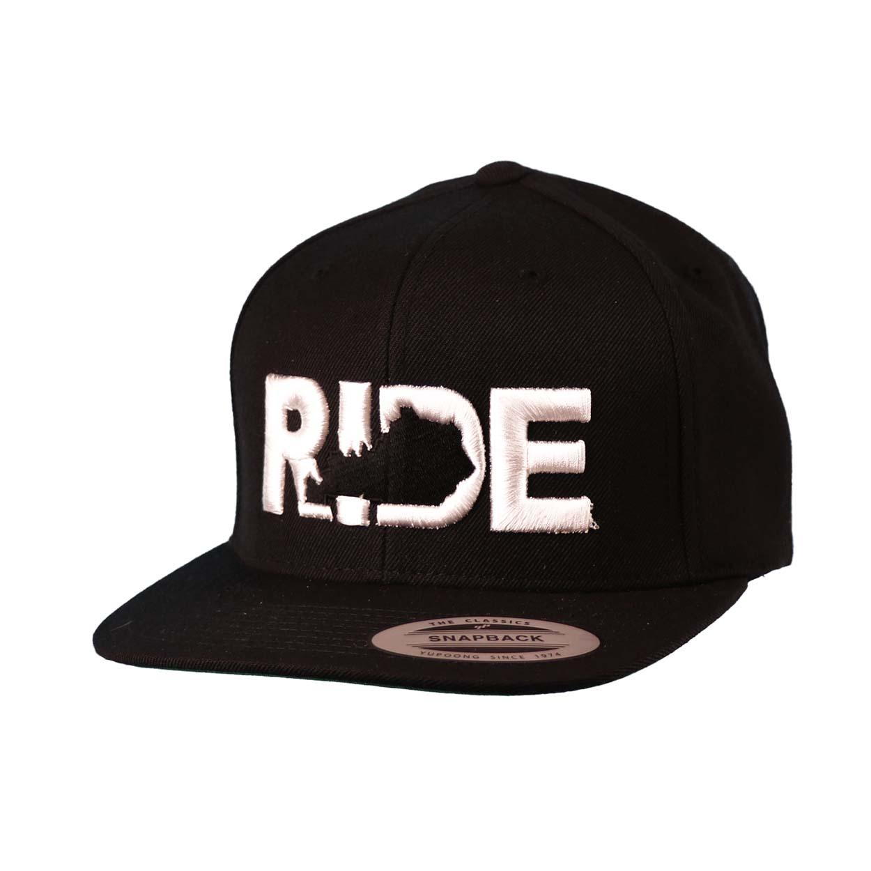 Ride Kentucky Classic Embroidered  Snapback Flat Brim Hat Black/White