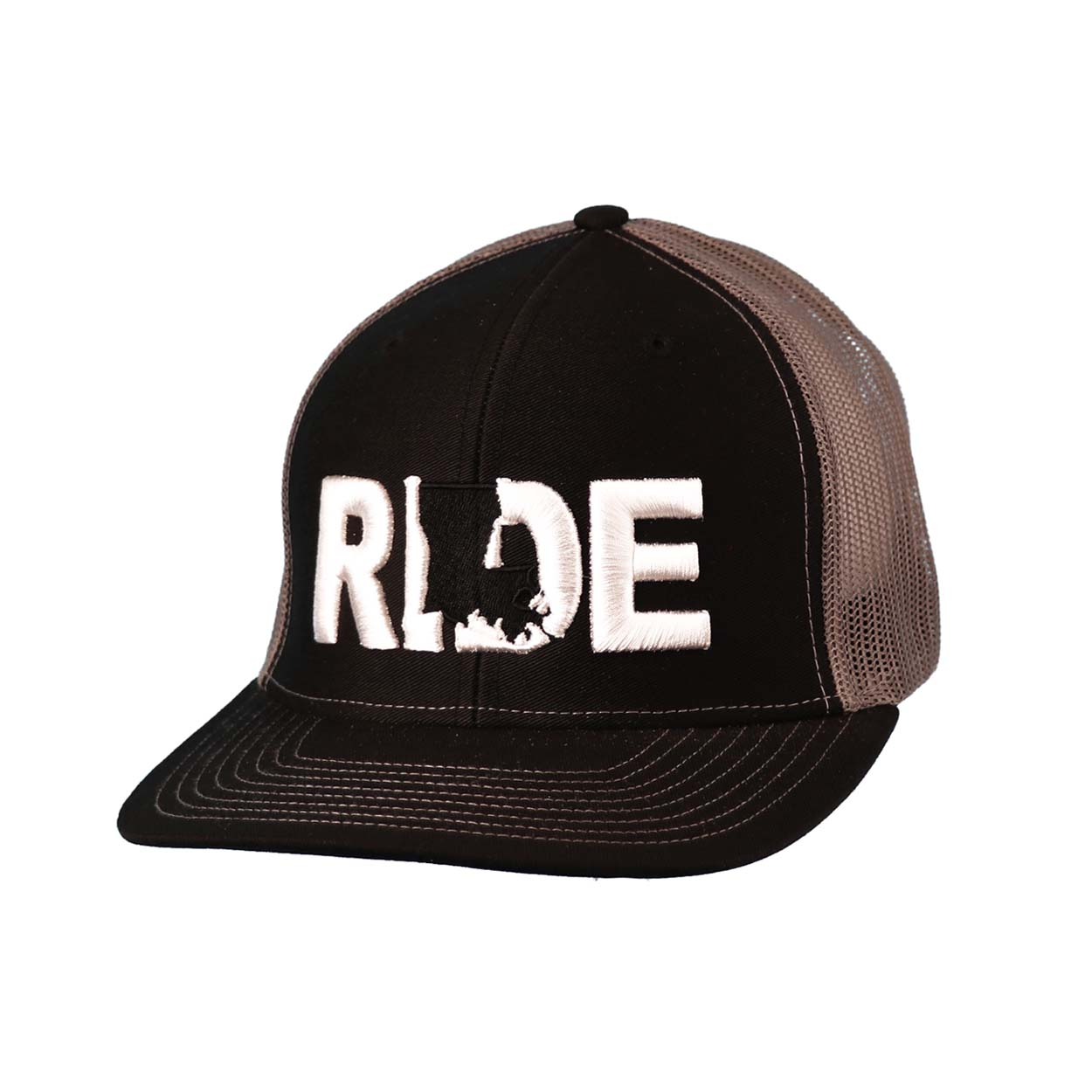 Ride Louisiana Classic Embroidered Snapback Trucker Hat Black/White