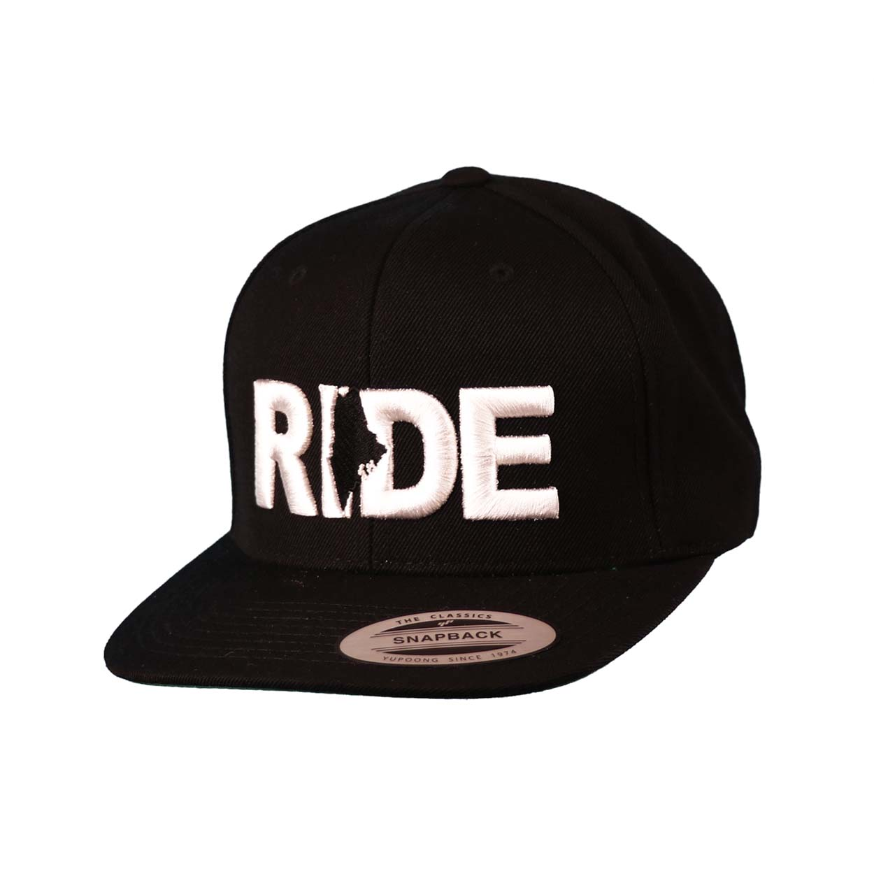 Ride Maine Classic Embroidered  Snapback Flat Brim Hat Black/White