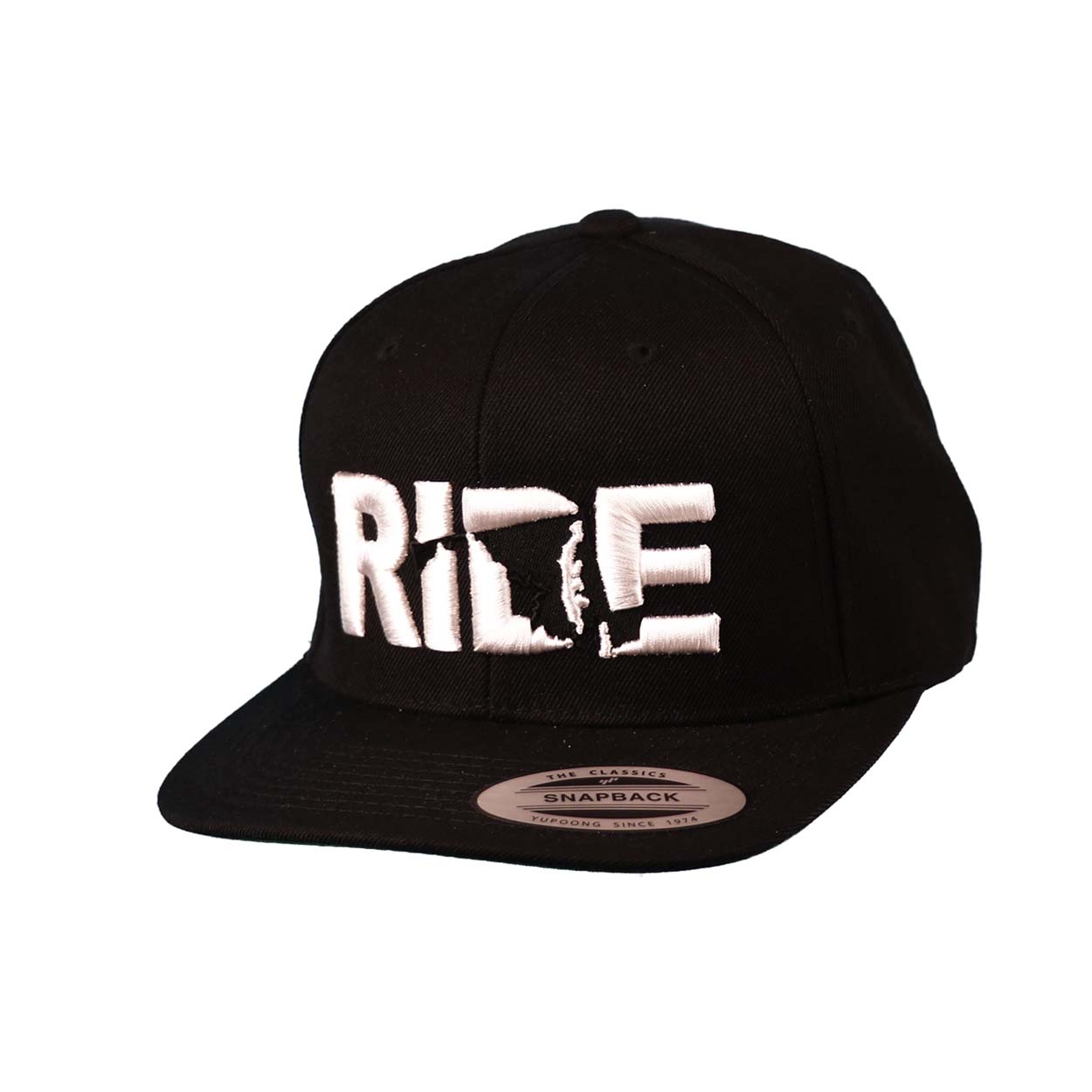 Ride Maryland Classic Embroidered  Snapback Flat Brim Hat Black/White