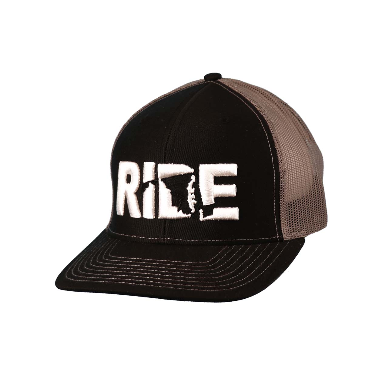 Ride Maryland Classic Embroidered Snapback Trucker Hat Black/White