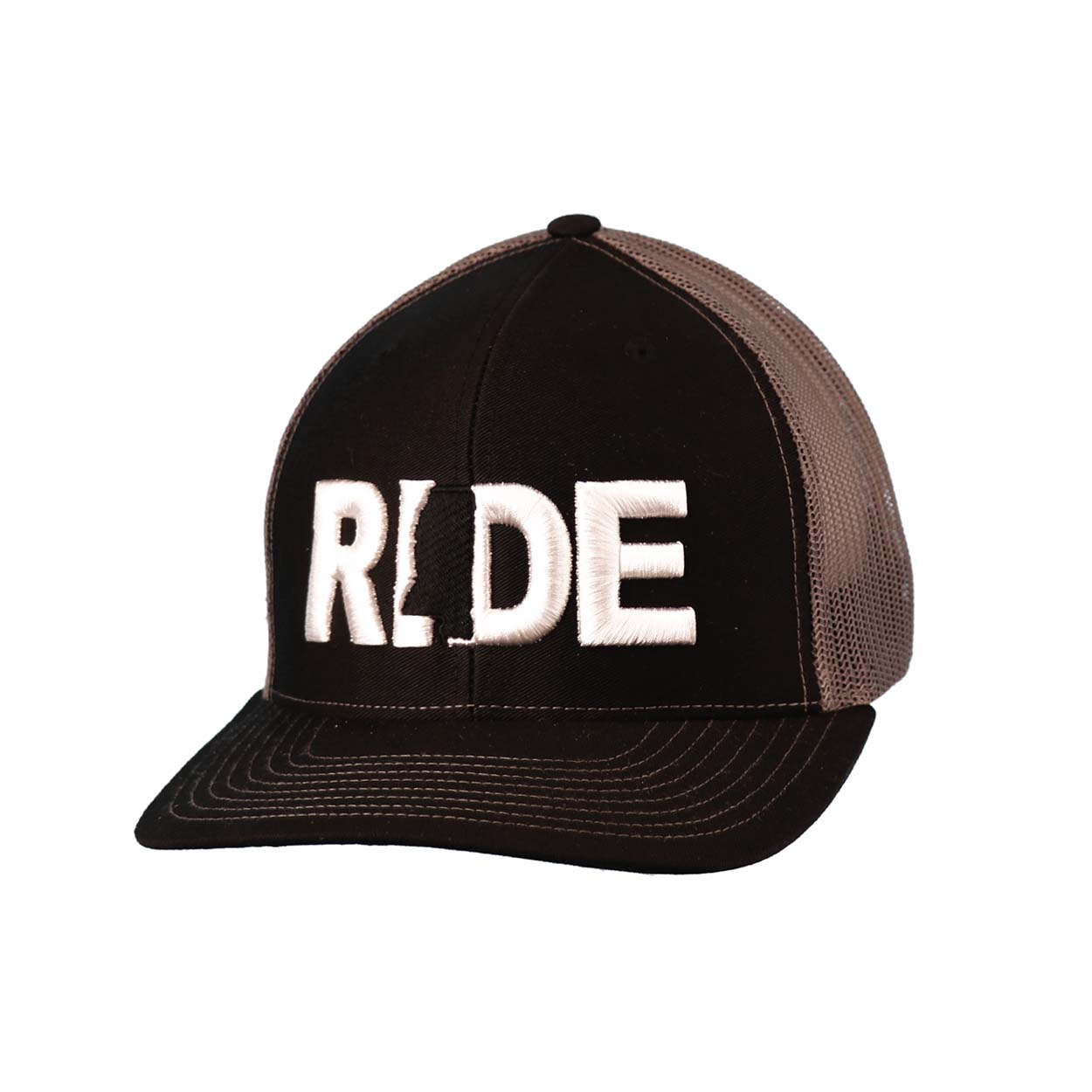 Ride Mississippi Classic Embroidered Snapback Trucker Hat Black/White
