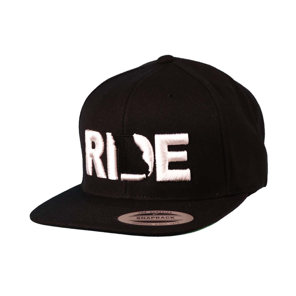 Ride Missouri Classic Embroidered  Snapback Flat Brim Hat Black/White