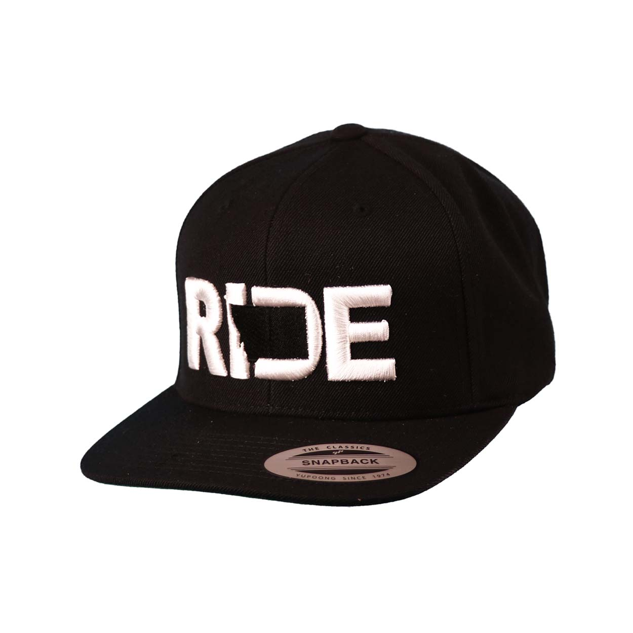 Ride Montana Classic Embroidered  Snapback Flat Brim Hat Black/White