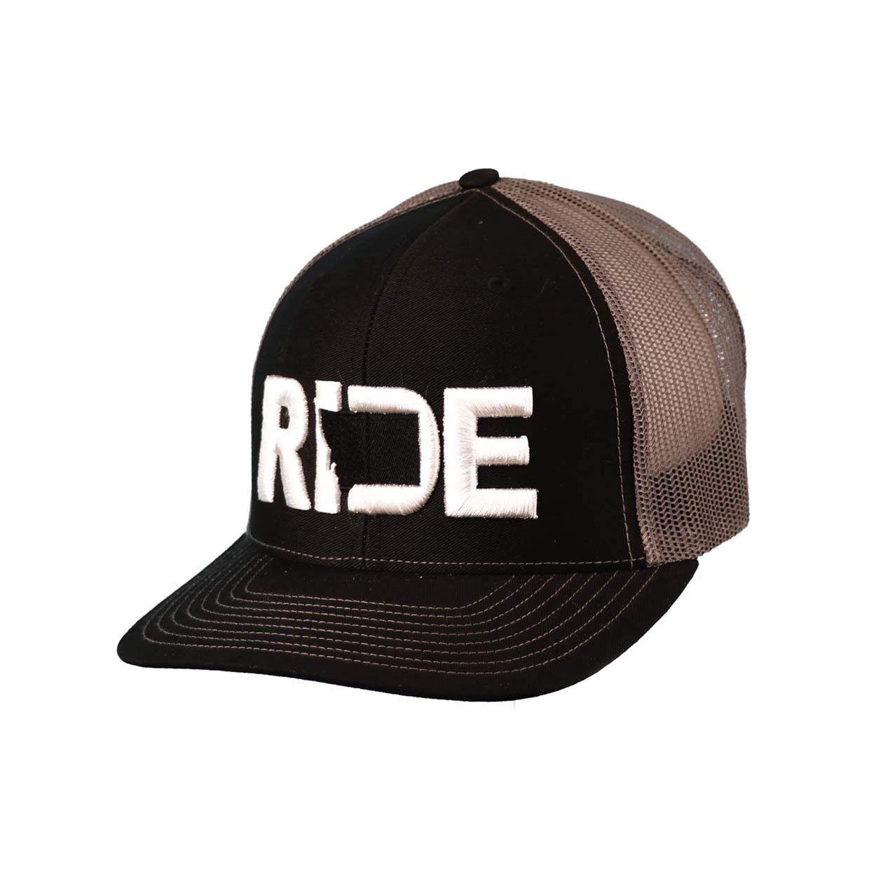 Ride Montana Classic Embroidered Snapback Trucker Hat Black/White