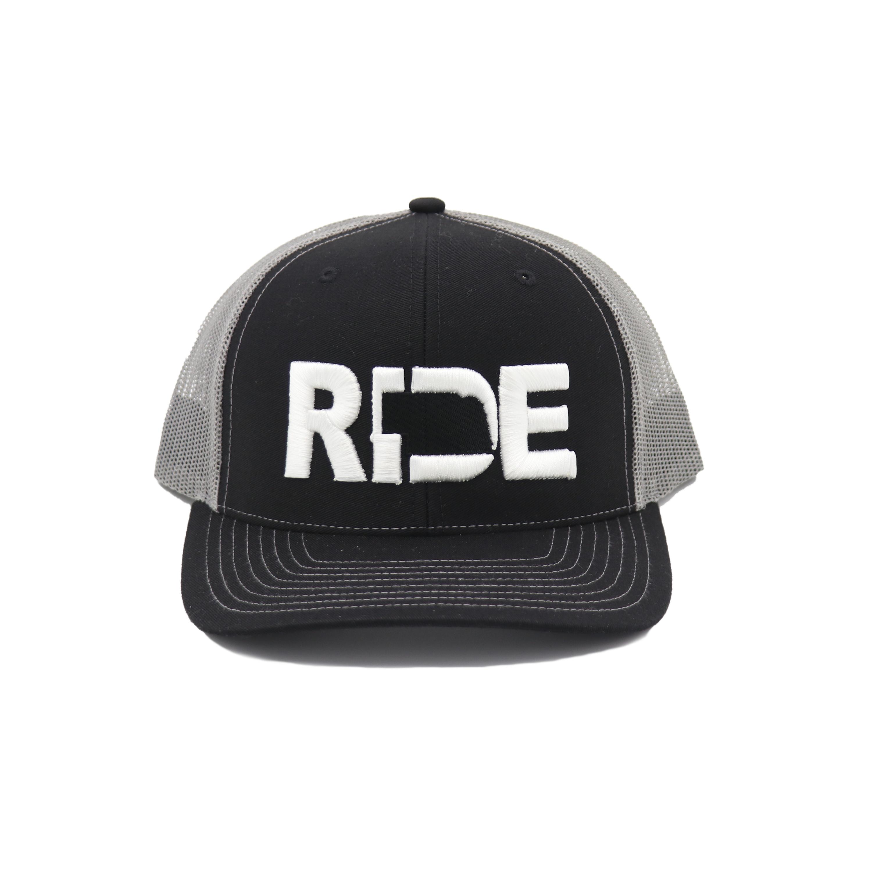 Ride Nebraska Classic Embroidered Snapback Trucker Hat Black/White