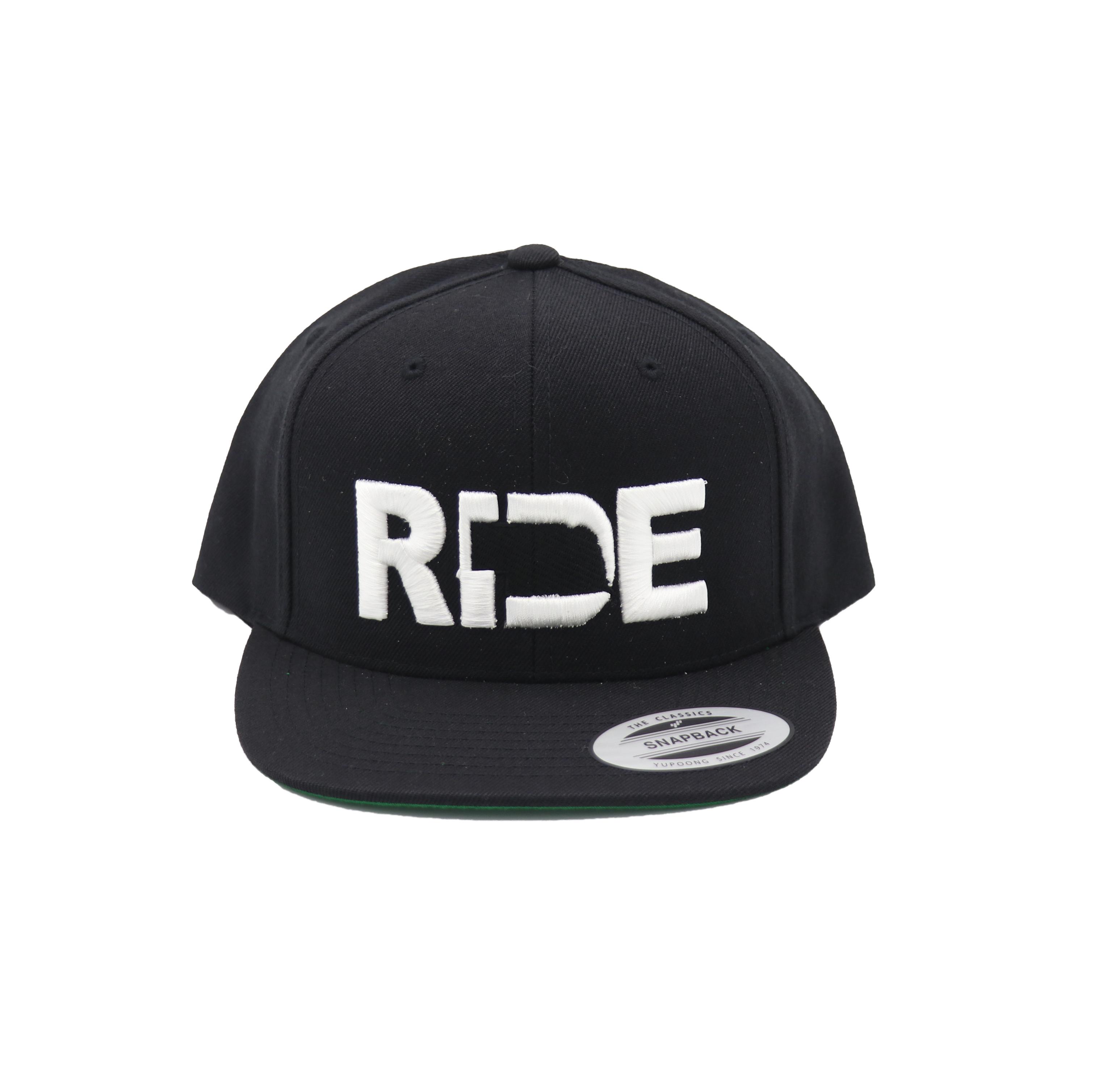 Ride Nebraska Classic Embroidered  Snapback Flat Brim Hat Black/White