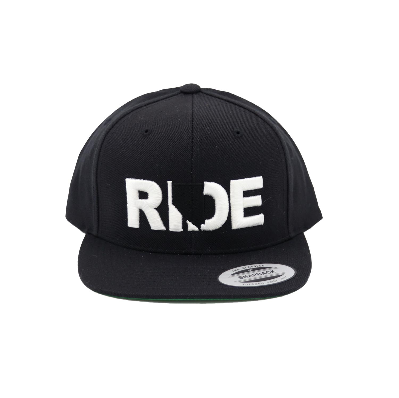 Ride Nevada Classic Embroidered  Snapback Flat Brim Hat Black/White