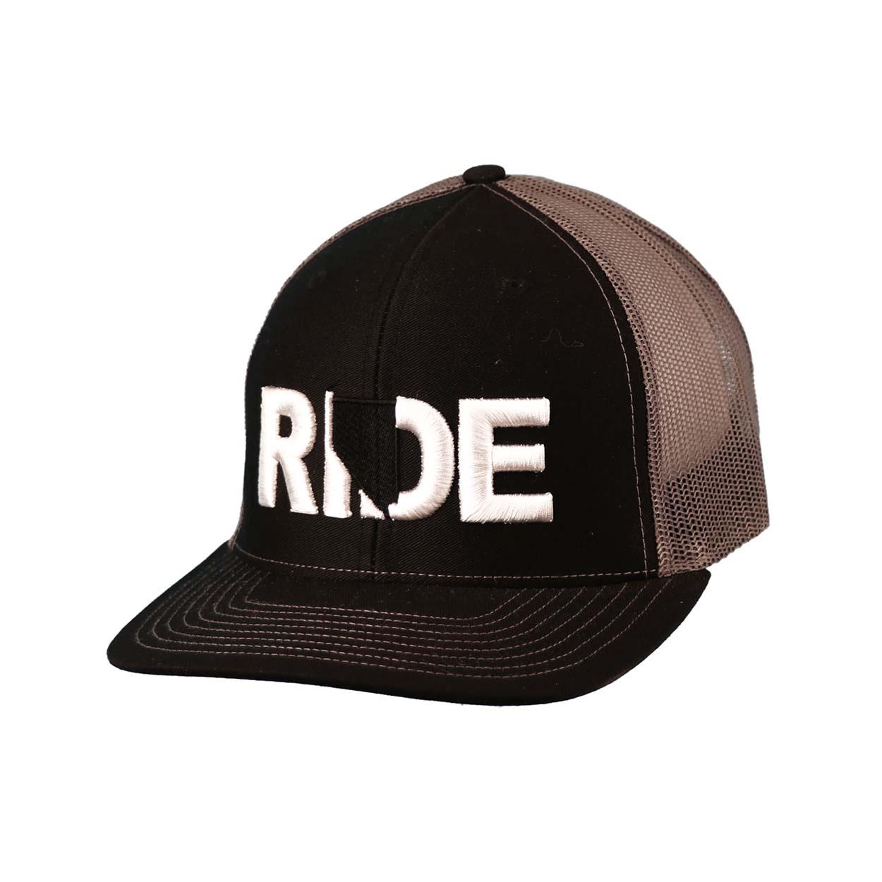 Ride Nevada Classic Embroidered Snapback Trucker Hat Black/White