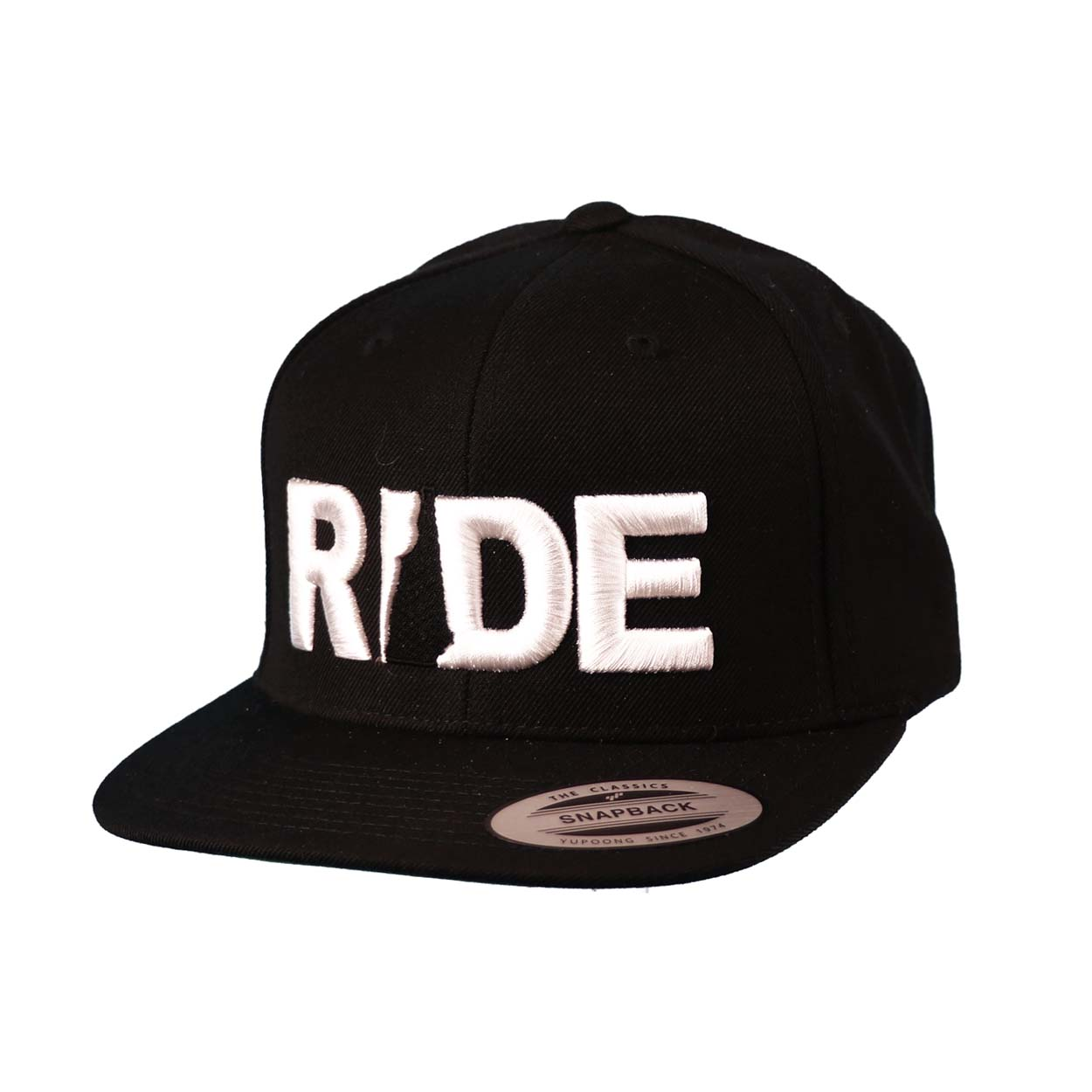 Ride New Hampshire Classic Embroidered  Snapback Flat Brim Hat Black/White