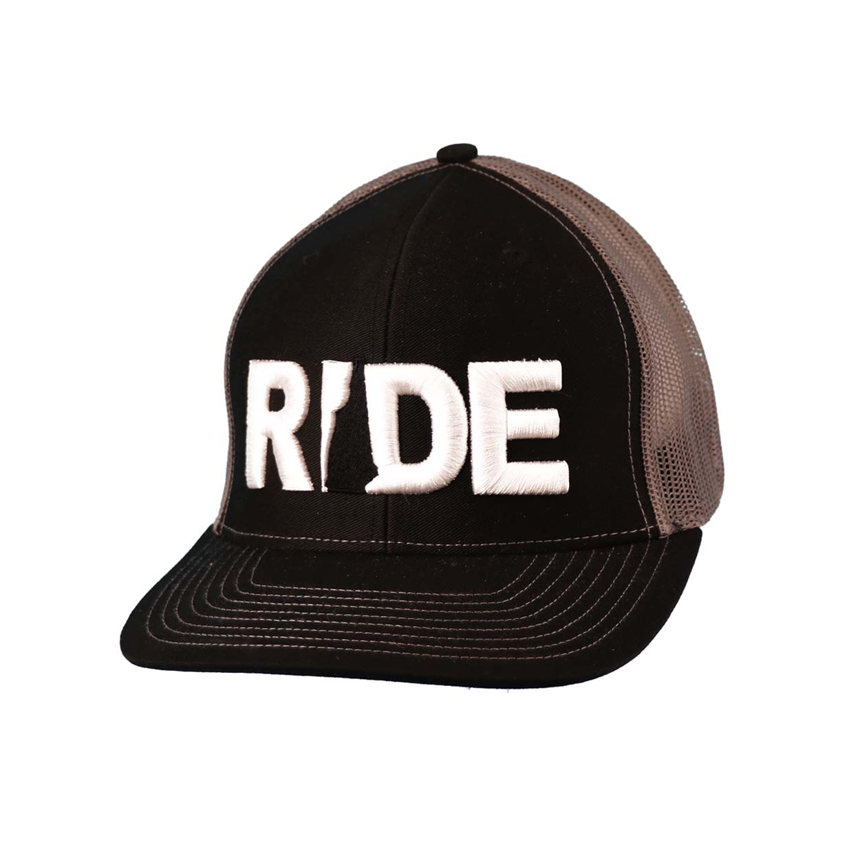 Ride New Hampshire Classic Embroidered Snapback Trucker Hat Black/White
