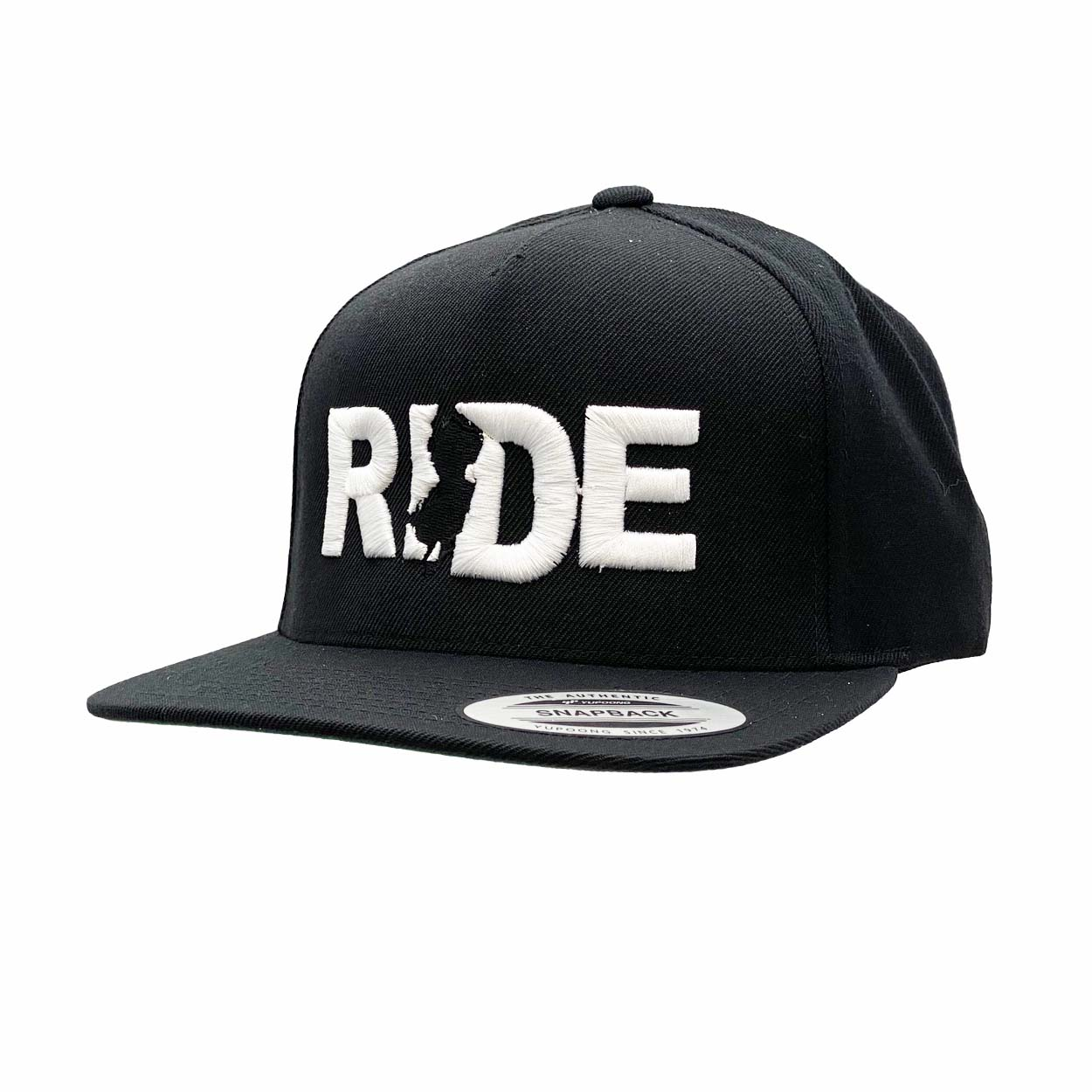 Ride New Jersey Classic Embroidered  Snapback Flat Brim Hat Black/White