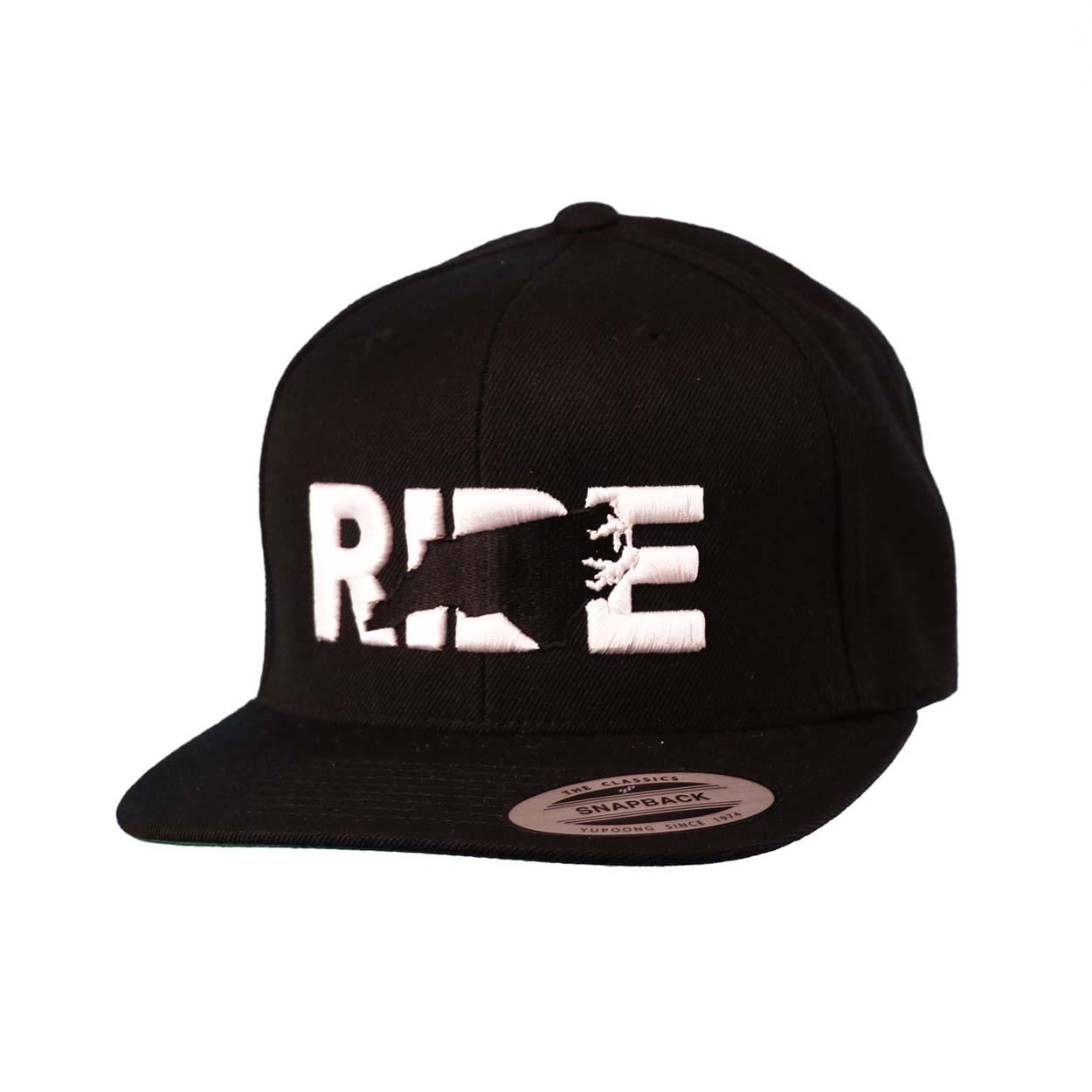 Ride North Carolina Classic Embroidered  Snapback Flat Brim Hat Black/White