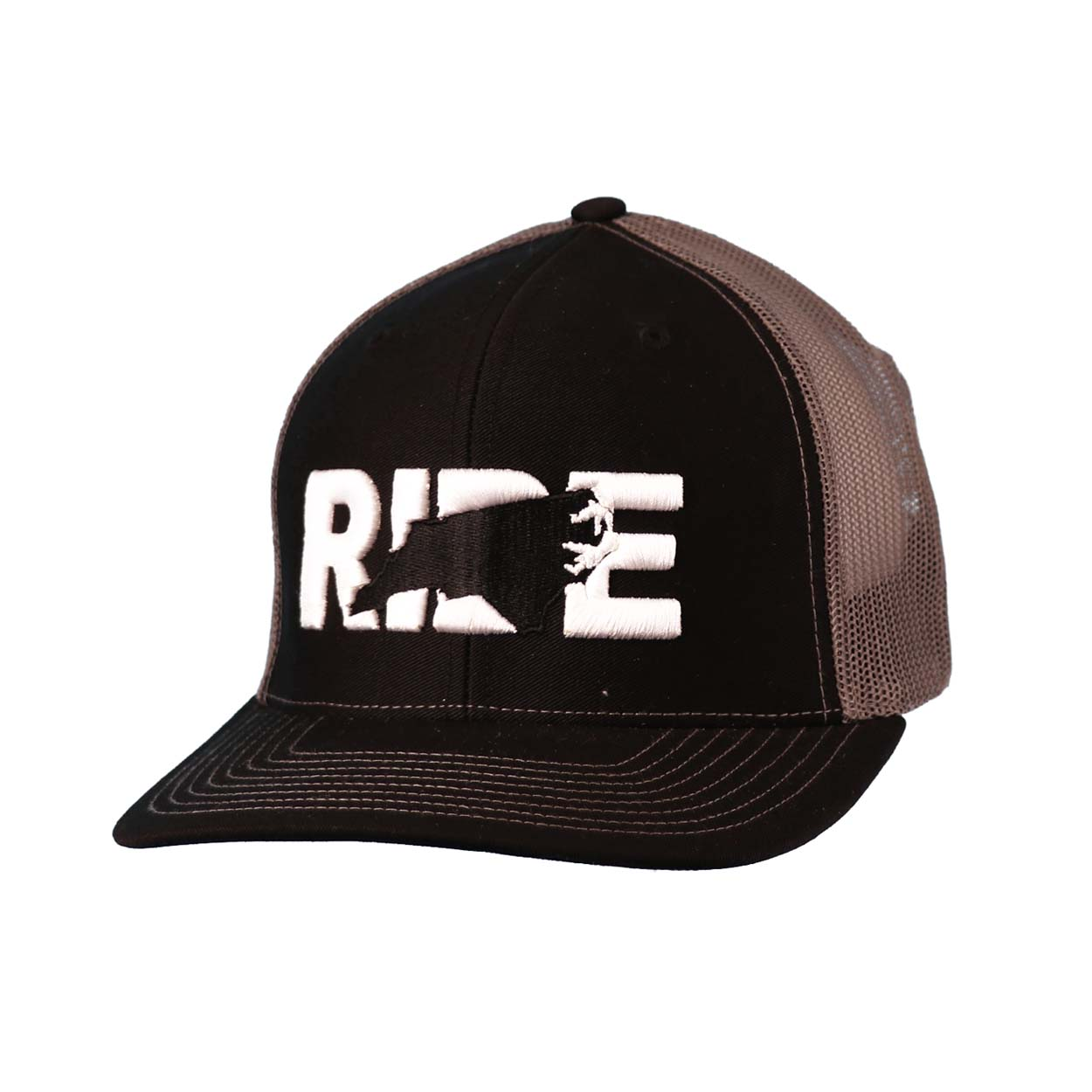 Ride North Carolina Classic Embroidered Snapback Trucker Hat Black/White
