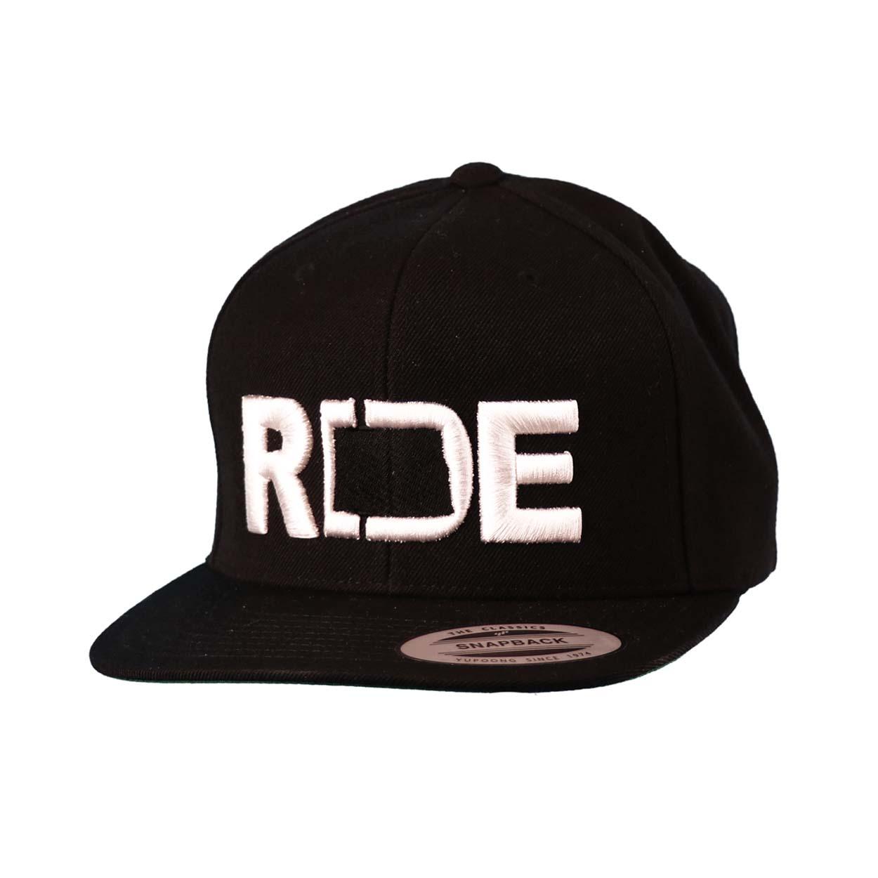 Ride North Dakota Classic Embroidered  Snapback Flat Brim Hat Black/White