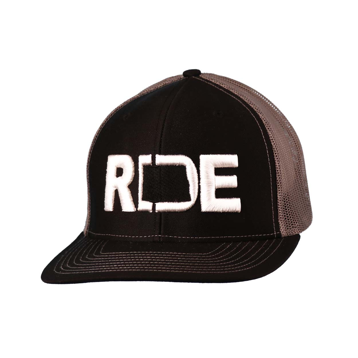 Ride North Dakota Classic Embroidered Snapback Trucker Hat Black/White