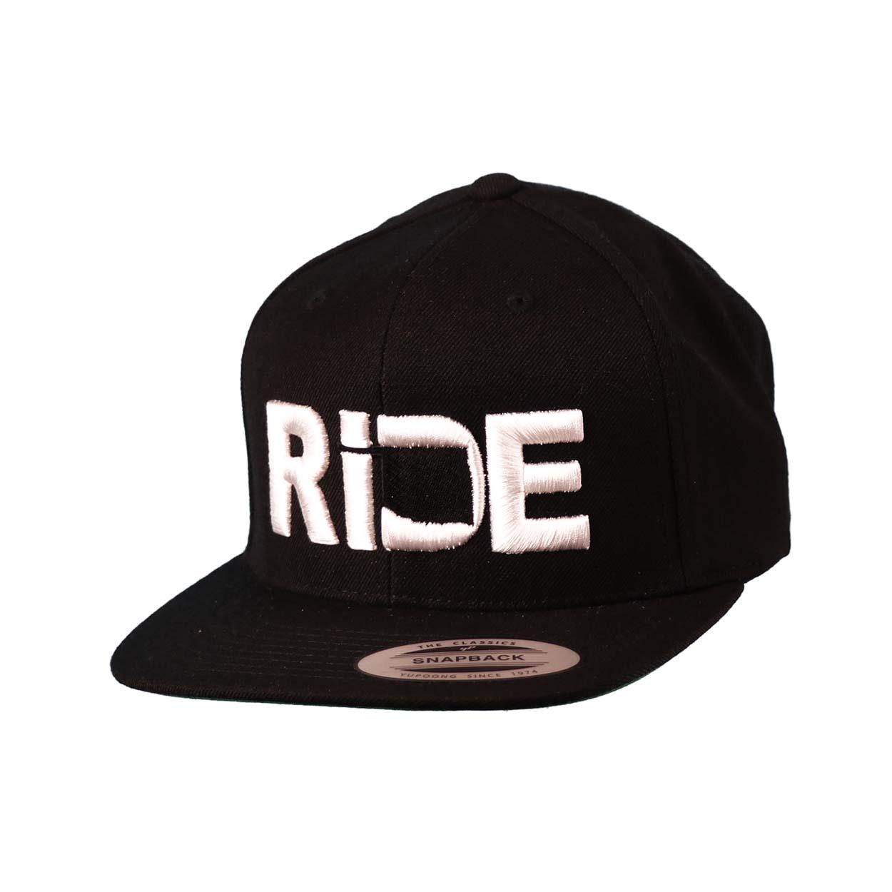 Ride Oklahoma Classic Embroidered  Snapback Flat Brim Hat Black/White