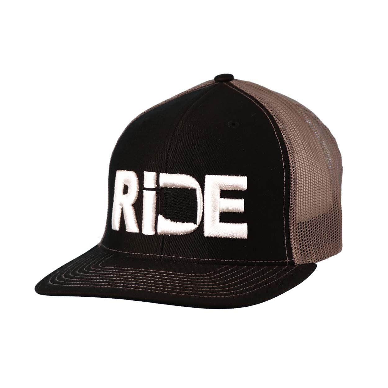 Ride Oklahoma Classic Embroidered Snapback Trucker Hat Black/White