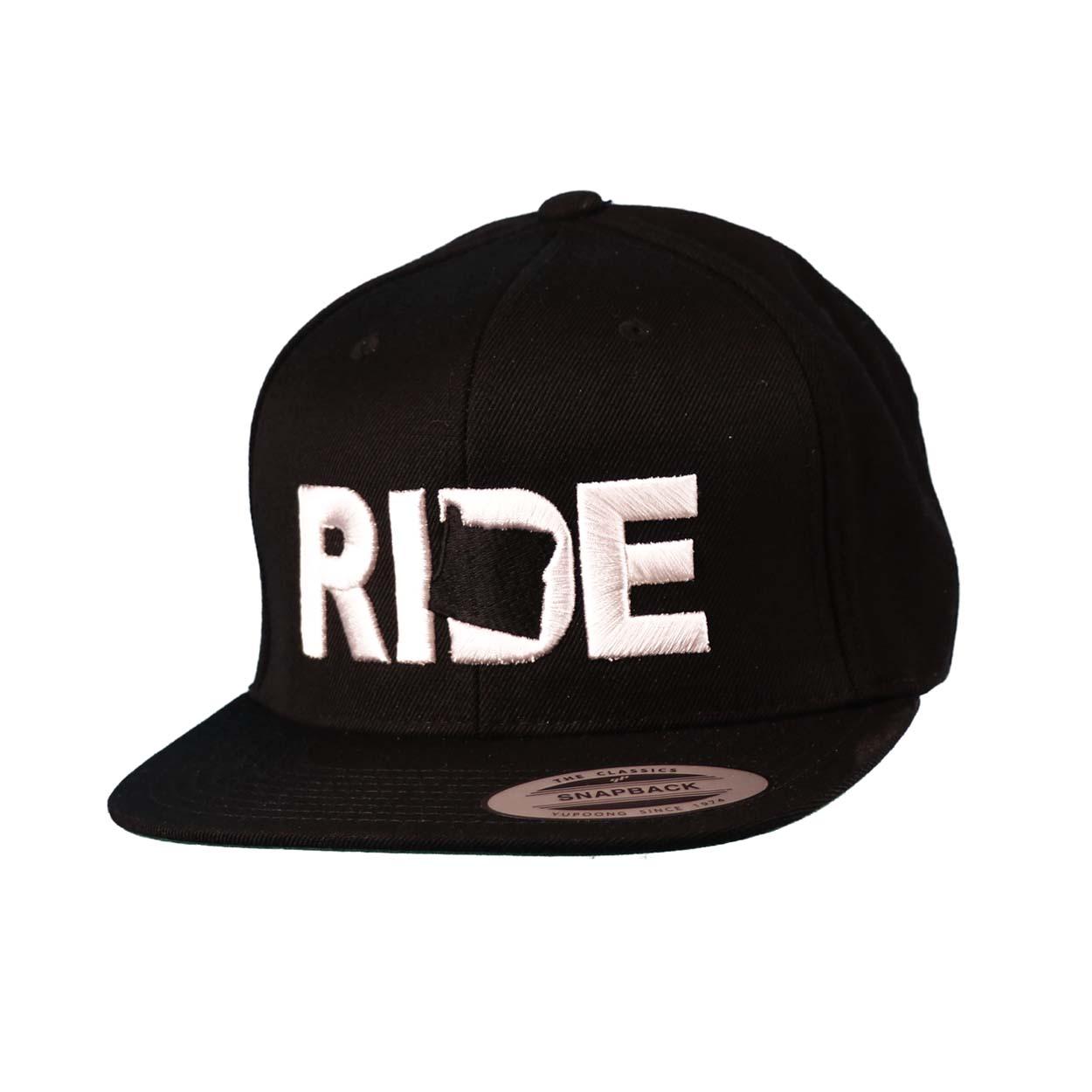 Ride Oregon Classic Embroidered  Snapback Flat Brim Hat Black/White