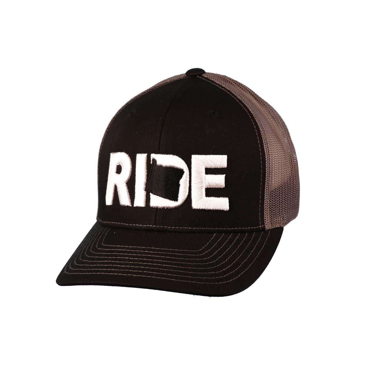 Ride Oregon Classic Embroidered Snapback Trucker Hat Black/White