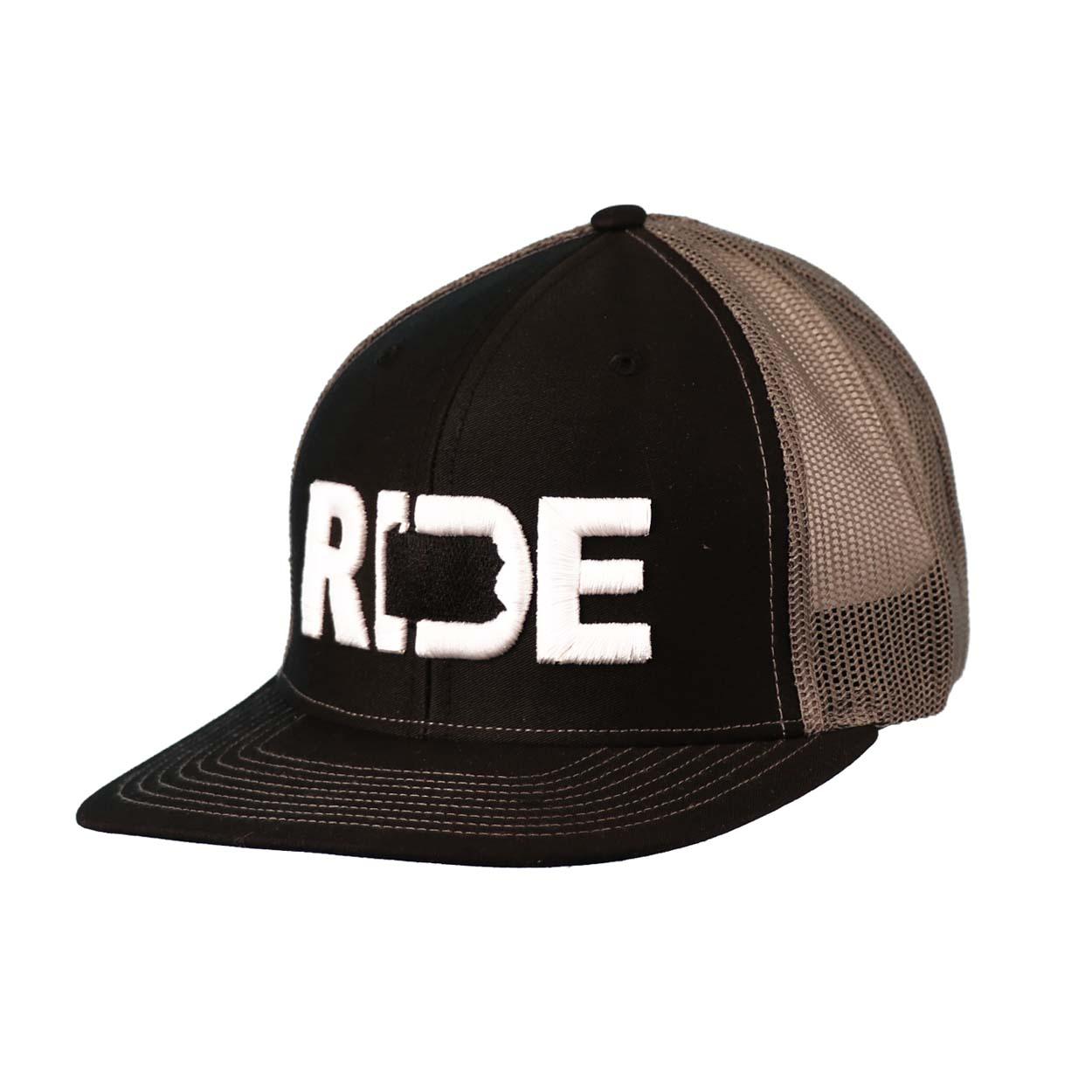 Ride Pennsylvania Classic Embroidered Snapback Trucker Hat Black/White