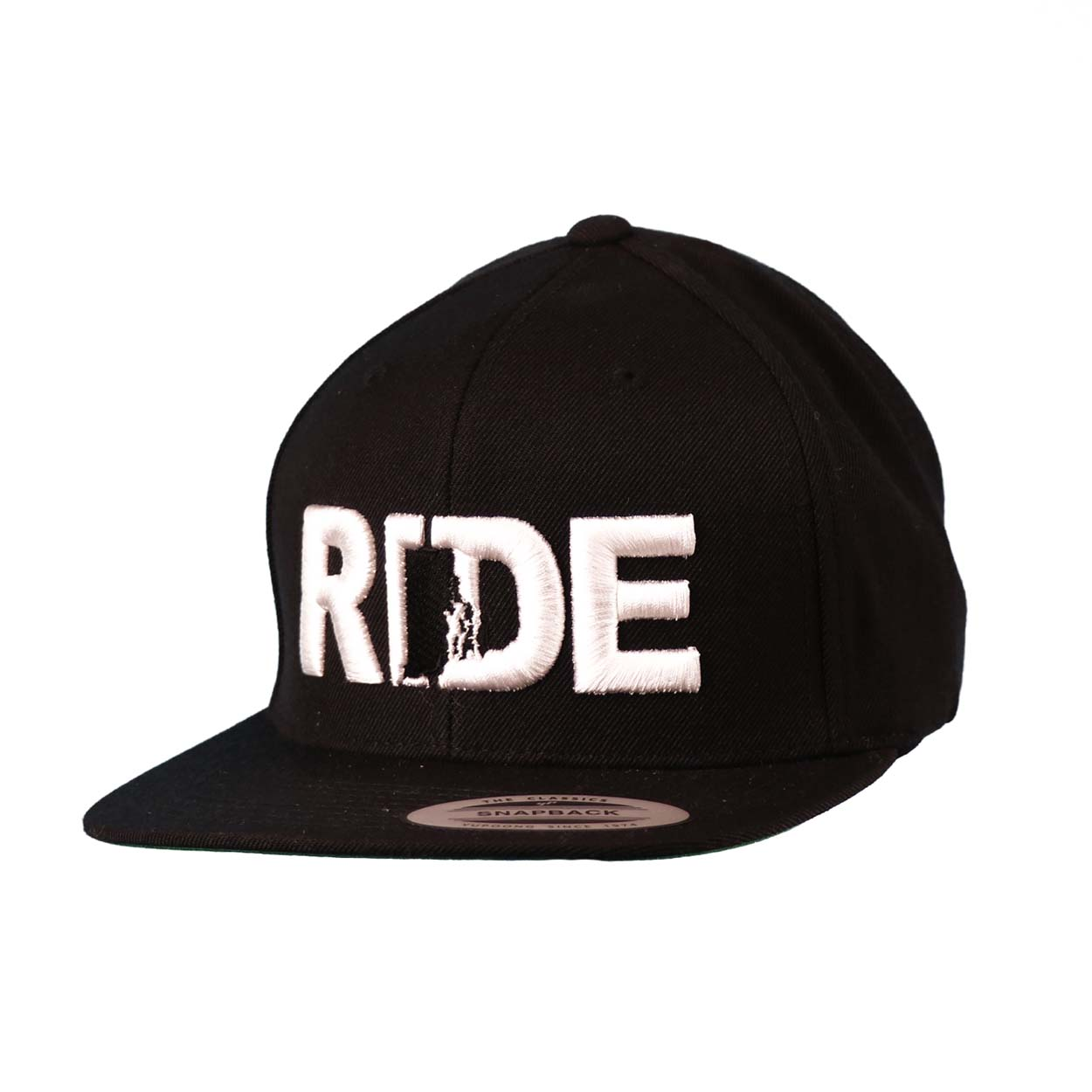 Ride Rhode Island Classic Embroidered  Snapback Flat Brim Hat Black/White