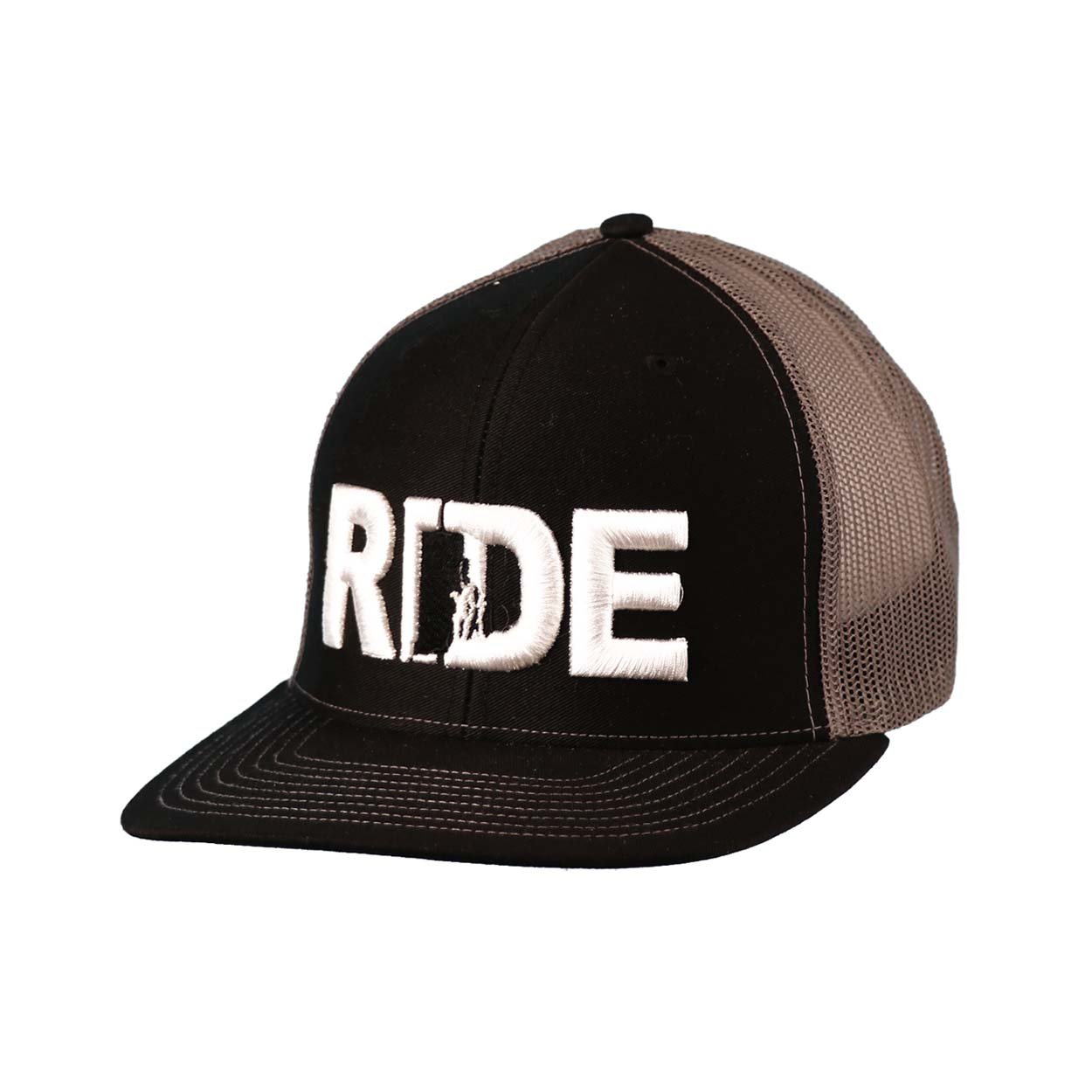 Ride Rhode Island Classic Embroidered Snapback Trucker Hat Black/White