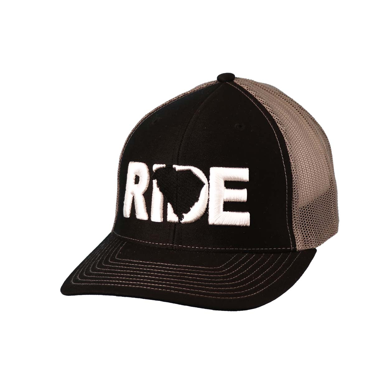 Ride South Carolina Classic Embroidered Snapback Trucker Hat Black/White