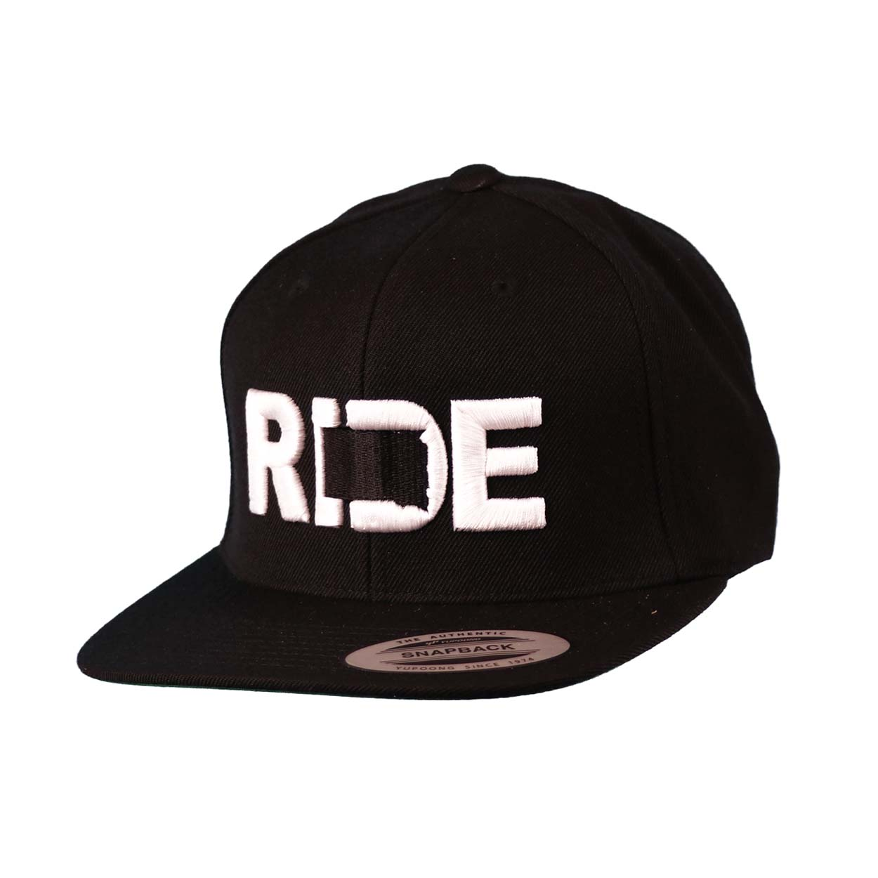 Ride South Dakota Classic Embroidered  Snapback Flat Brim Hat Black/White