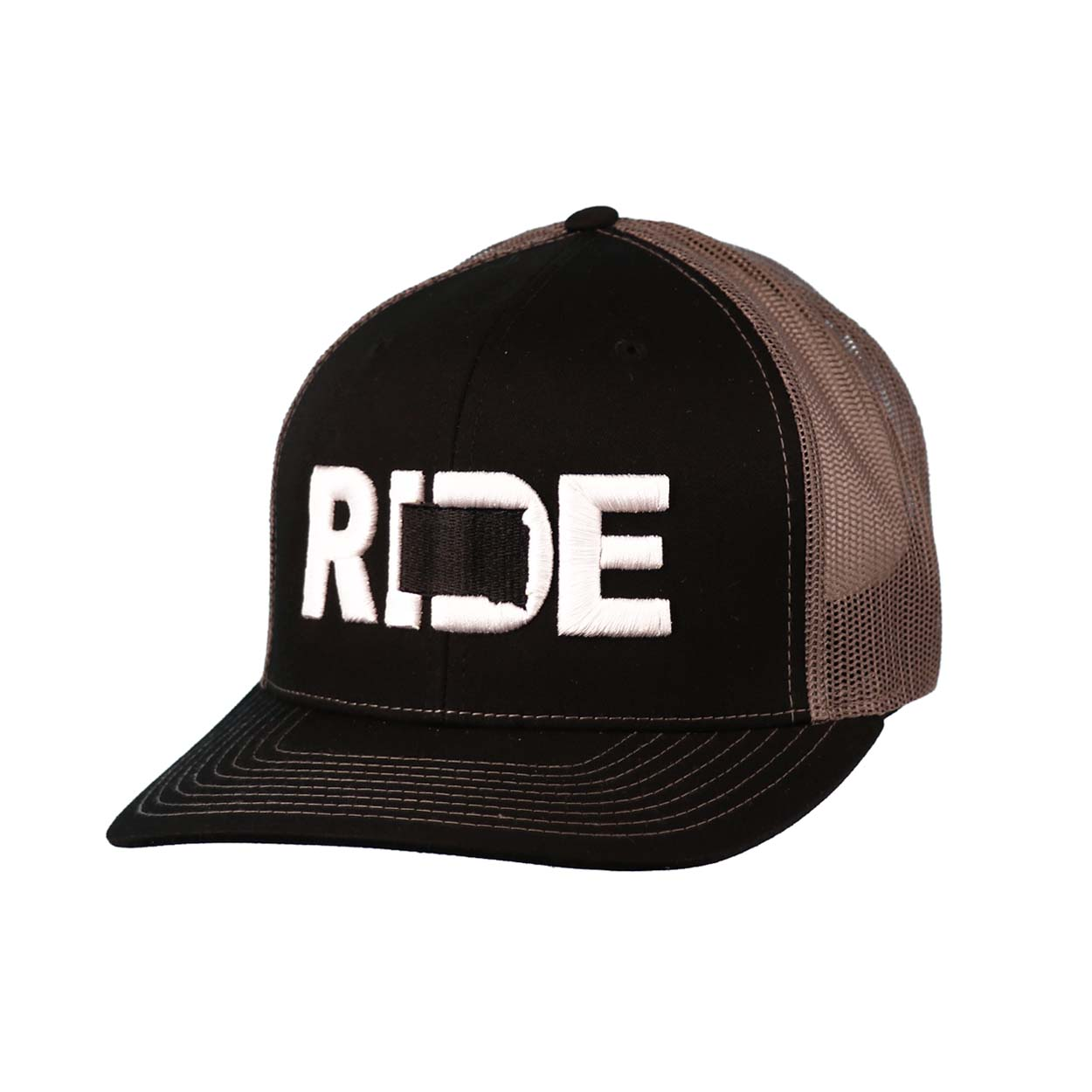 Ride South Dakota Classic Embroidered Snapback Trucker Hat Black/White