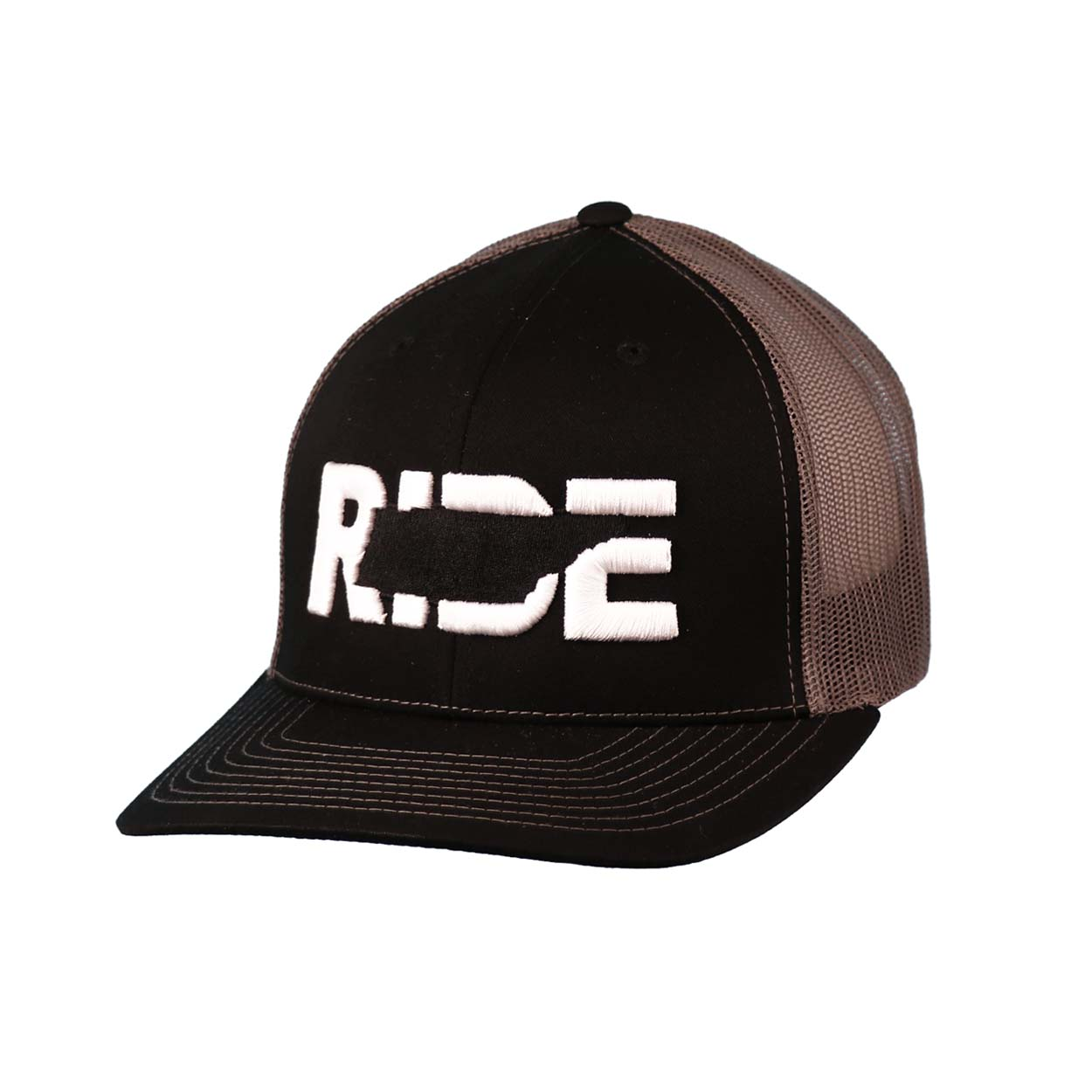 Ride Tennessee Classic Embroidered Snapback Trucker Hat Black/White